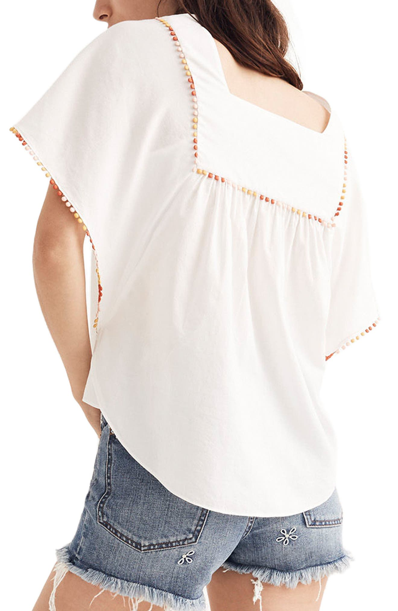 Pompom Butterfly Top,                             Alternate thumbnail 2, color,                             White Wash