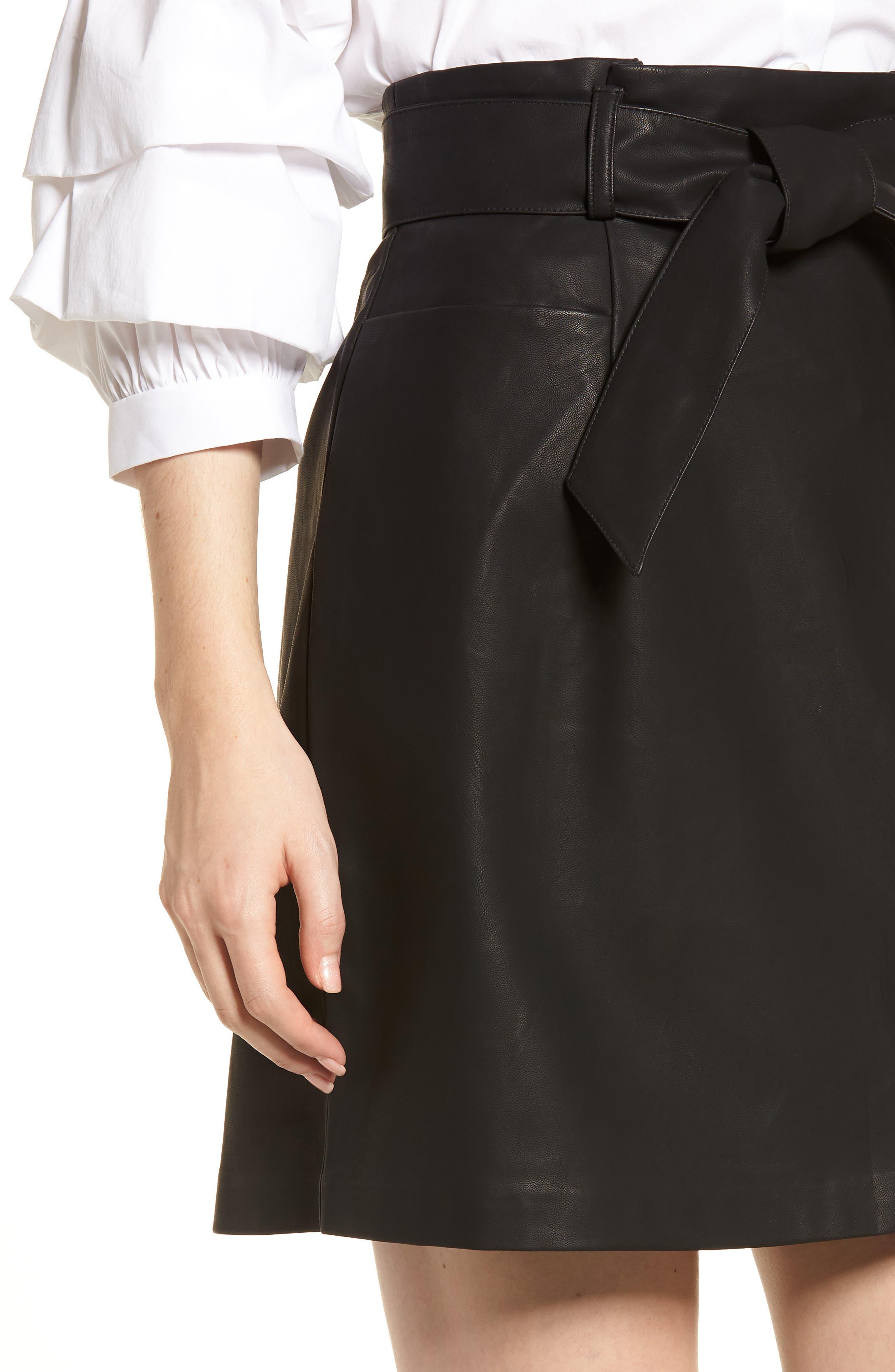 Paperbag Faux Leather Miniskirt,                             Alternate thumbnail 4, color,                             Black