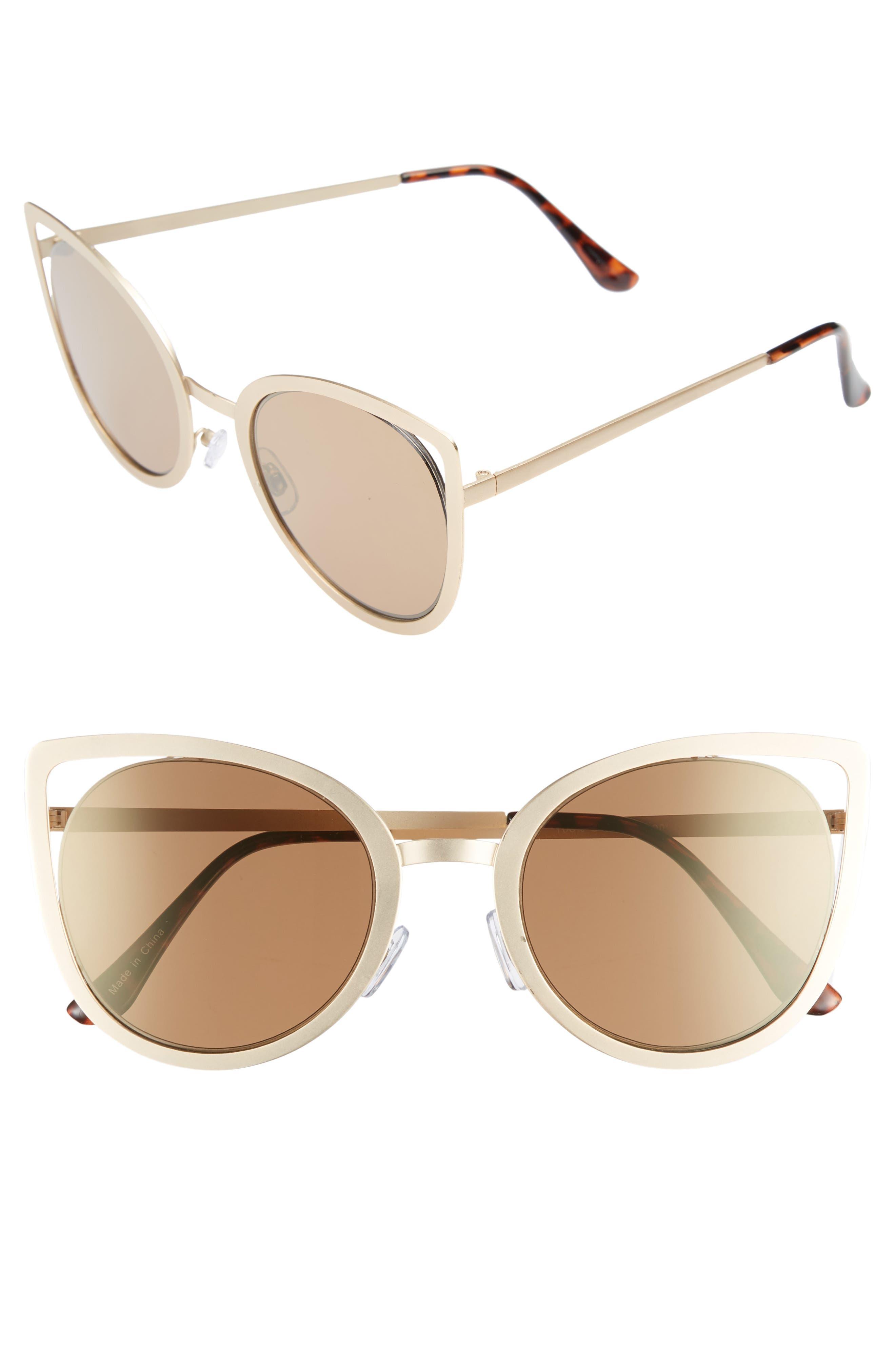 53mm Cutout Cat Eye Sunglasses,                             Main thumbnail 1, color,                             Gold