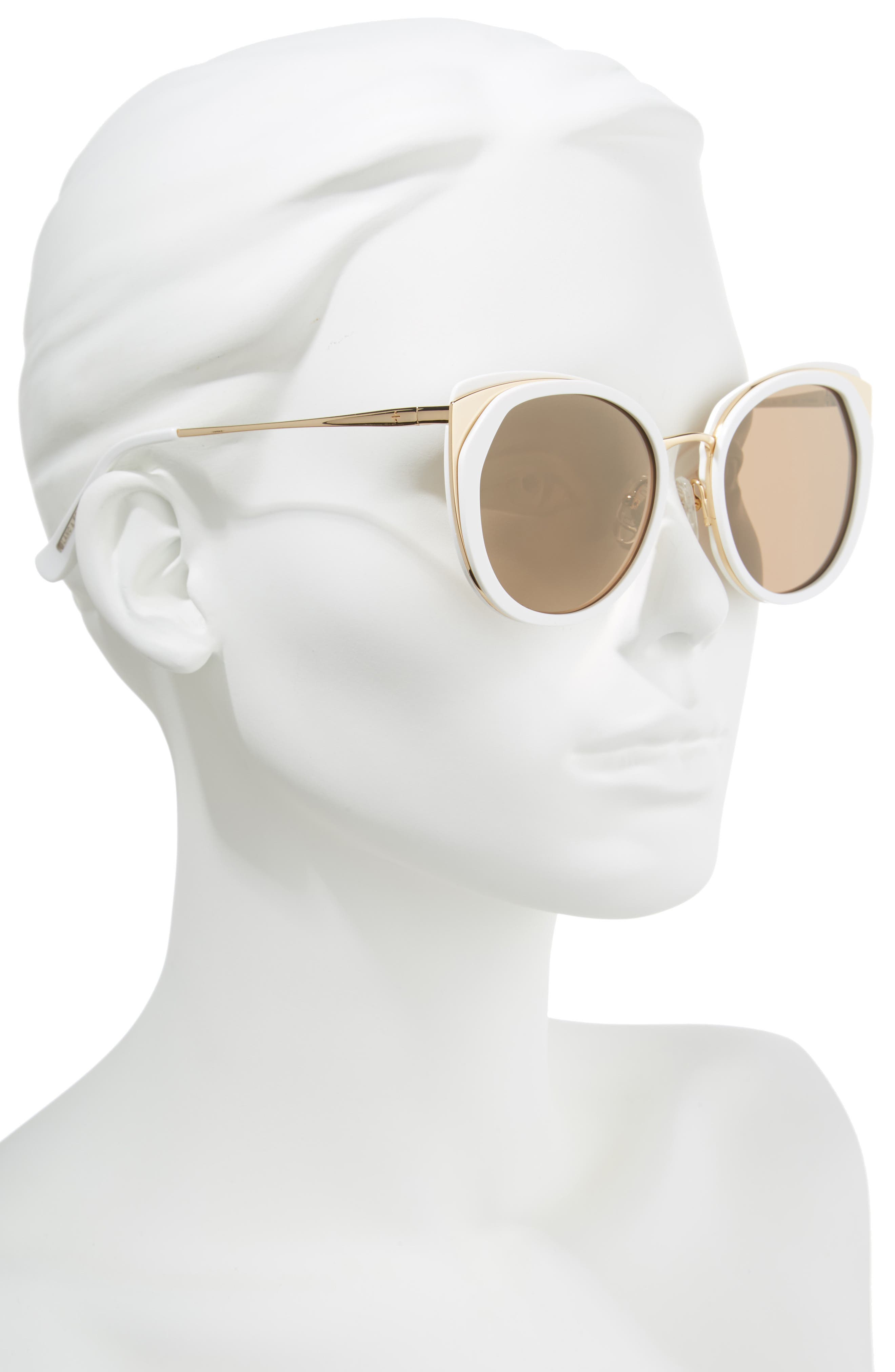 BLANC & ECLARE Istanbul 55mm Polarized Cat Eye Sunglasses,                             Alternate thumbnail 2, color,                             Snow/ Gold/ Solid Gold Mirror