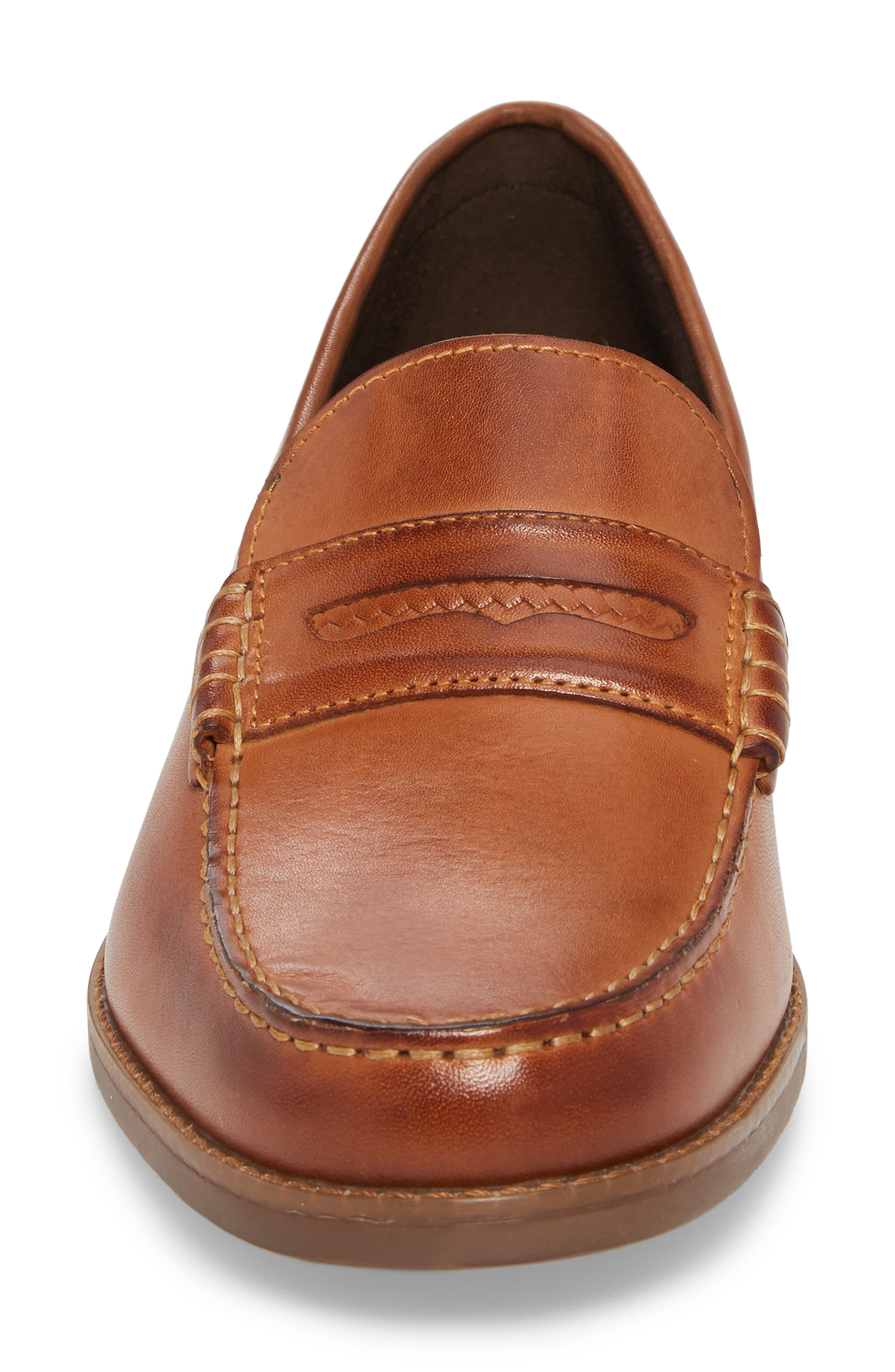 Cayleb Moc Toe Penny Loafer,                             Alternate thumbnail 4, color,                             Cognac Leather