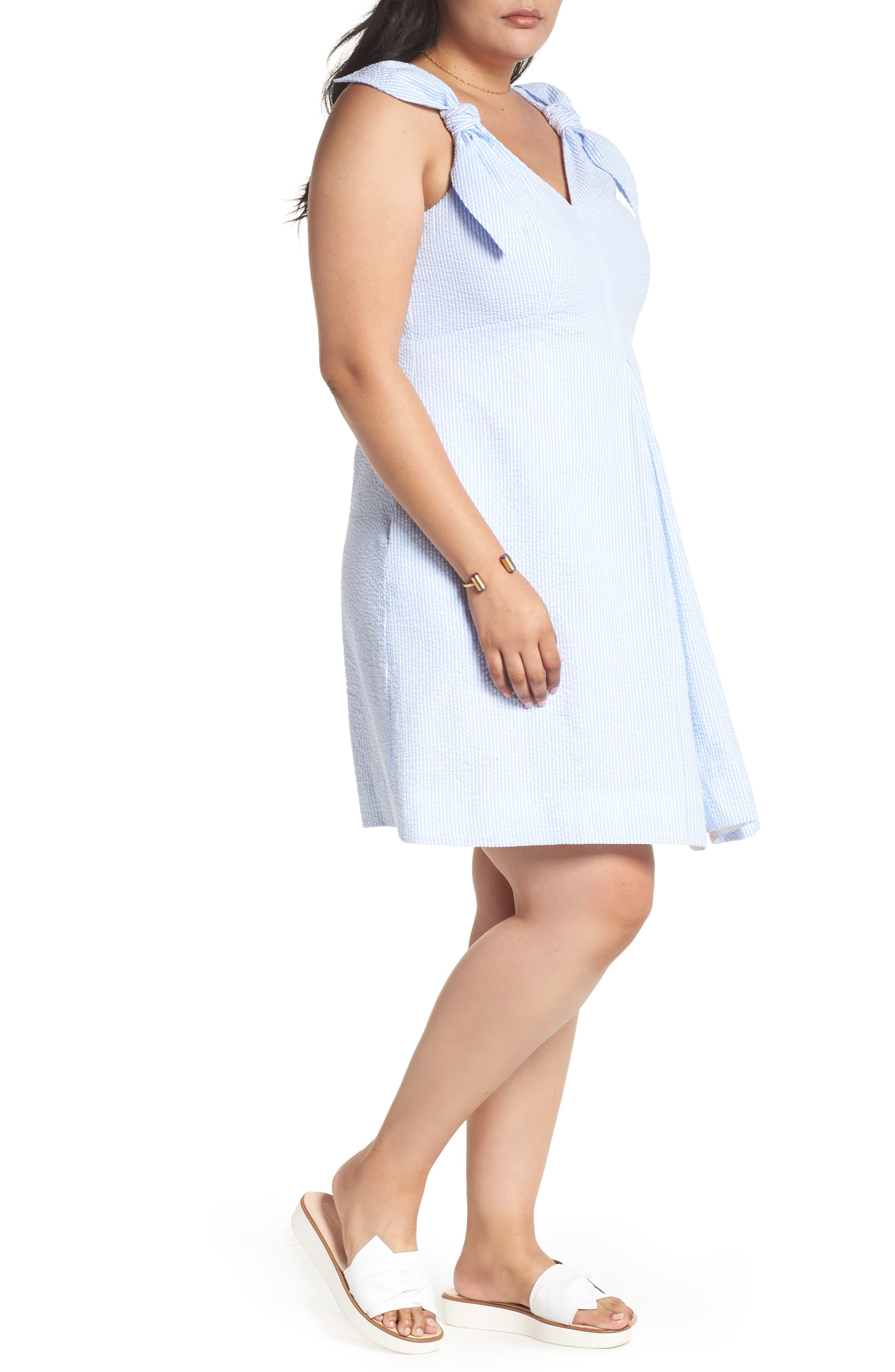 Bow Shoulder Seersucker Dress,                             Alternate thumbnail 4, color,                             Blue Seersucker Stripe