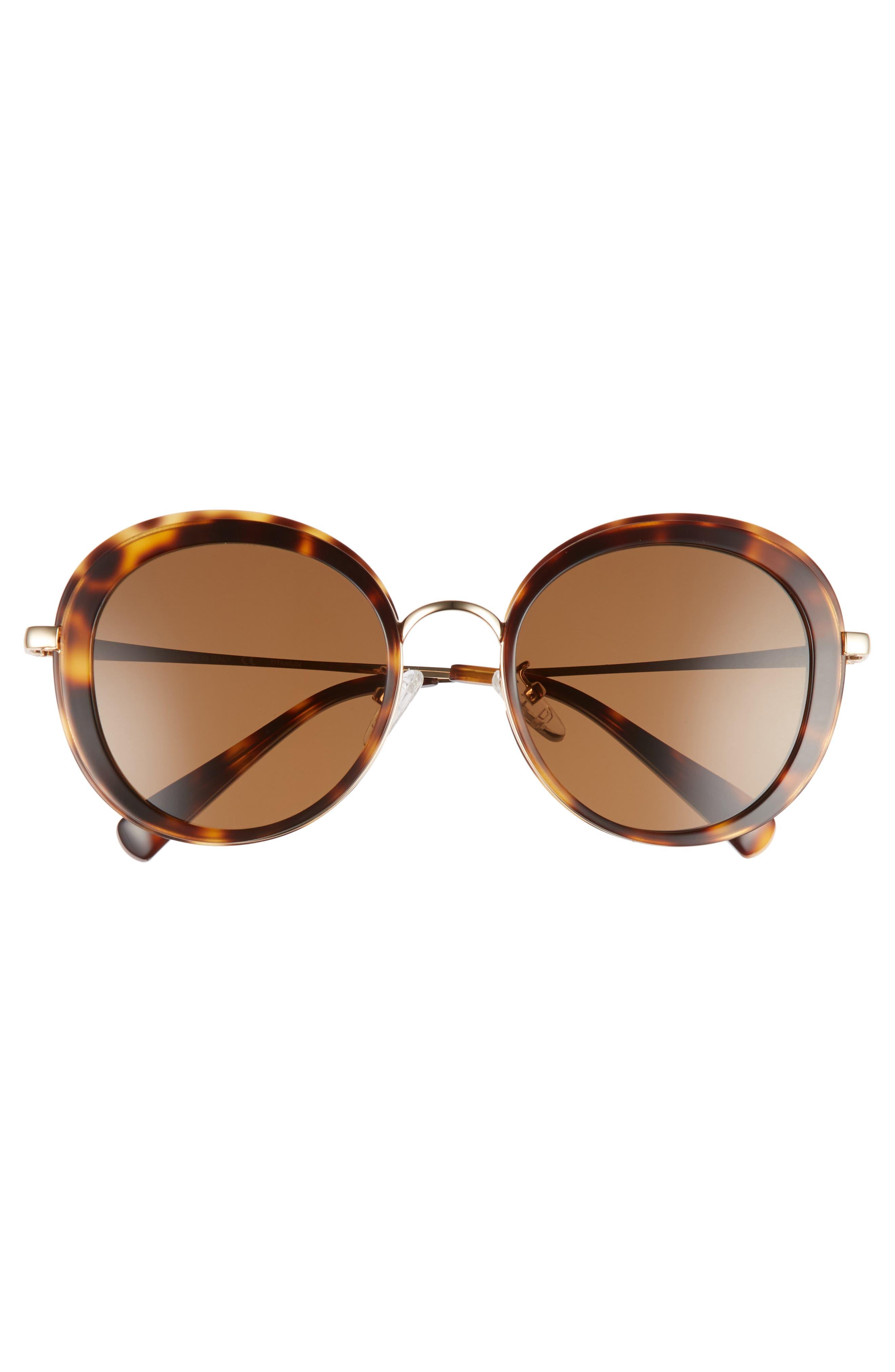 BLANC & ECLARE Portofino 54mm Polarized Sunglasses,                             Alternate thumbnail 3, color,                             Tortoise/ Gold/ Solid Brown