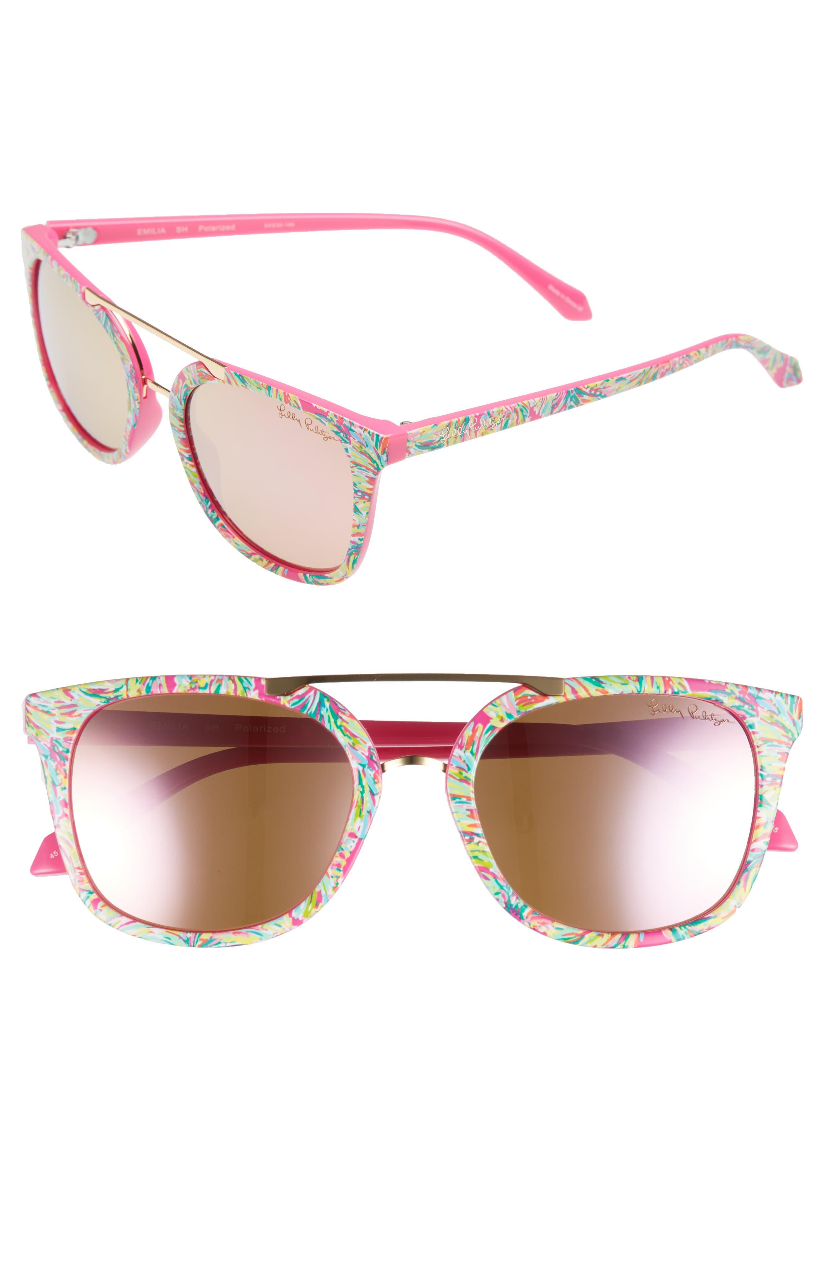 Lilly Pulitzer Emilia 53mm Polarized Sunglasses,                             Main thumbnail 1, color,                             Shady Lady/ Pink