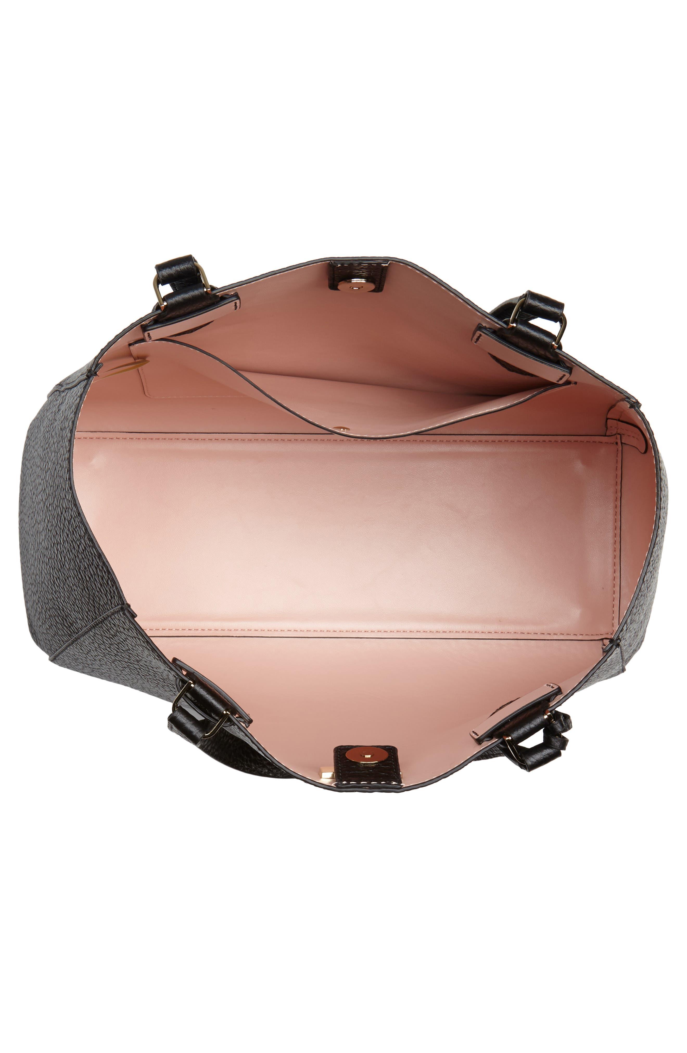 carter street - tyler leather tote,                             Alternate thumbnail 4, color,                             Black
