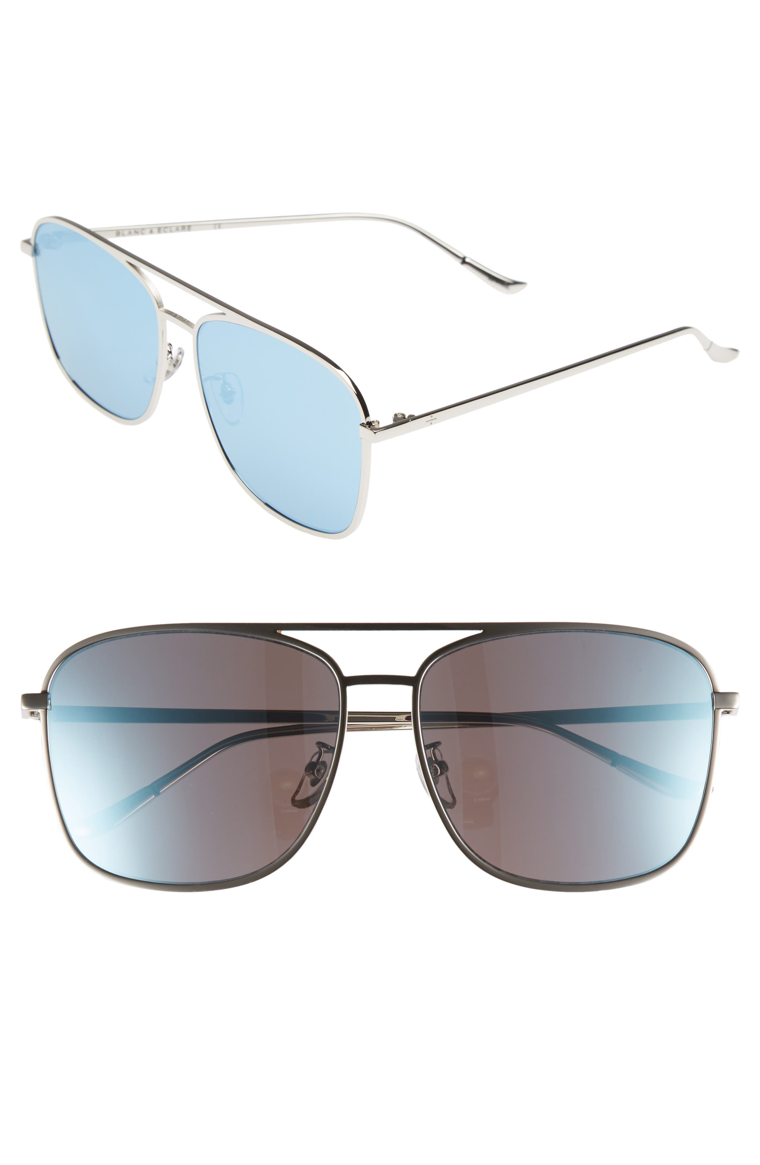BLANC & ECLARE Geneva Large 60mm Polarized Metal Aviator Sunglasses,                         Main,                         color, Silver/ Blue