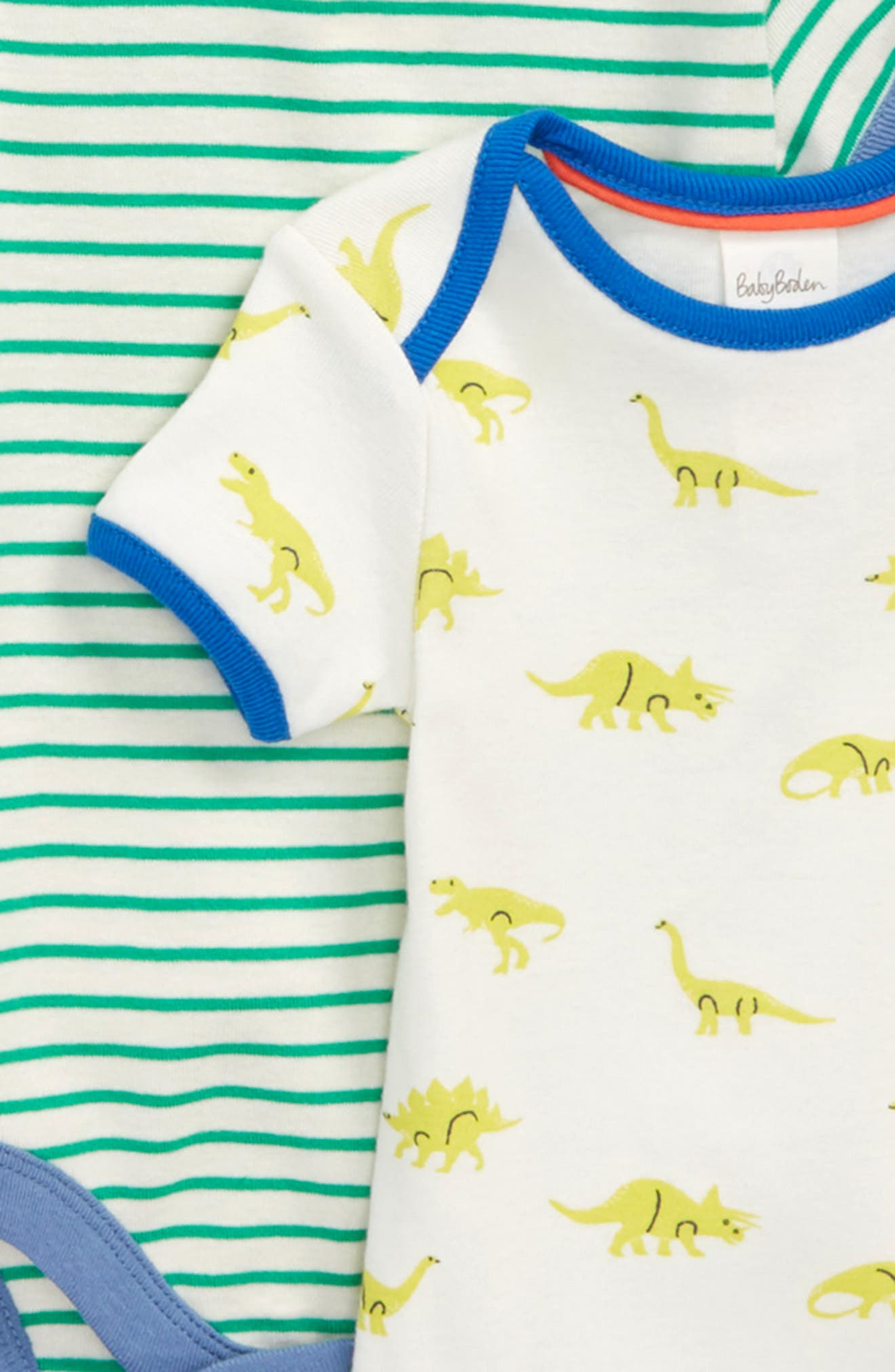 Alternate Image 2  - Mini Boden Dino 5-Pack Bodysuits (Baby Boys)