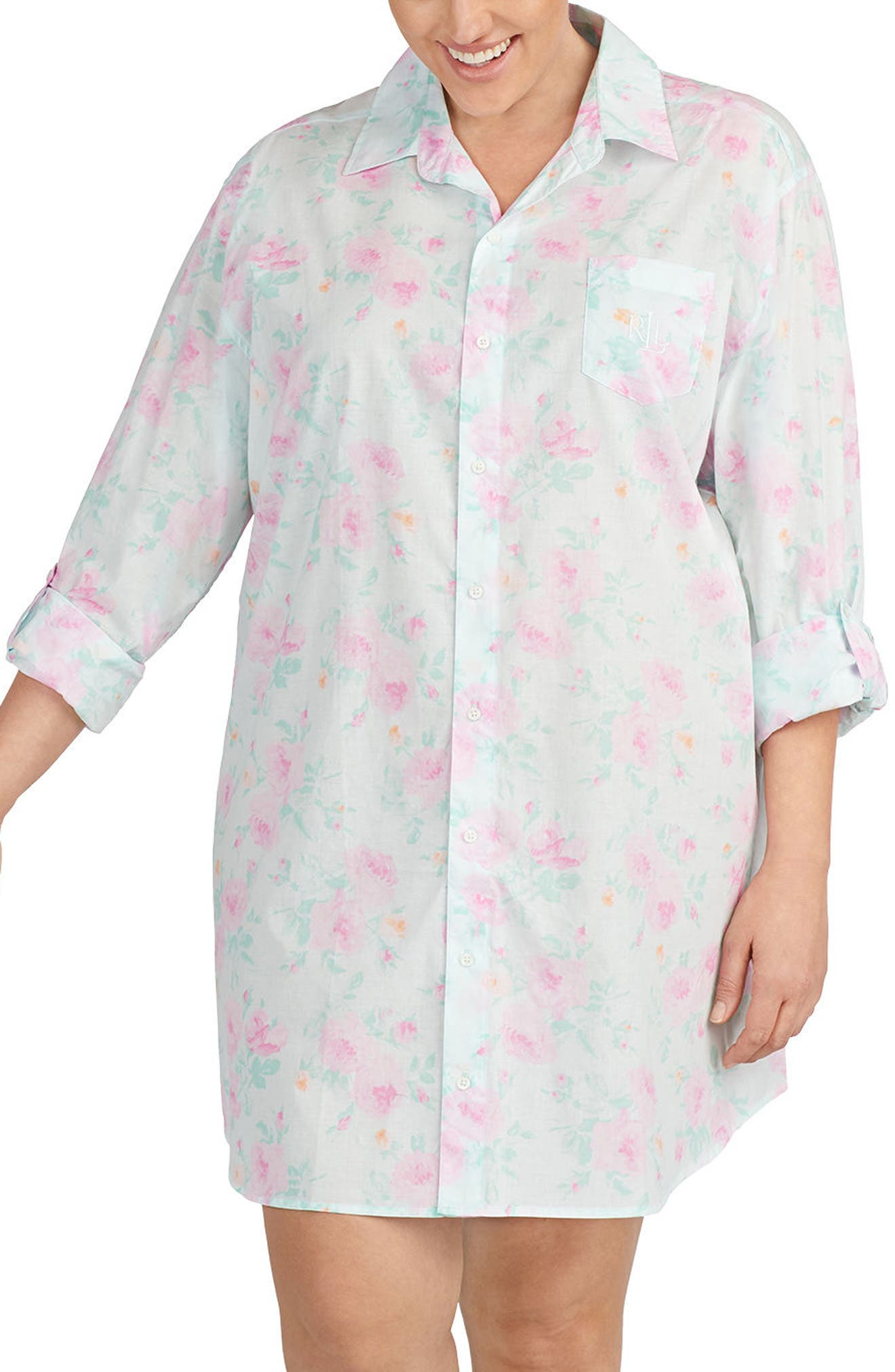 Lauren Ralph Lauren Print Sleep Shirt (Plus Size)