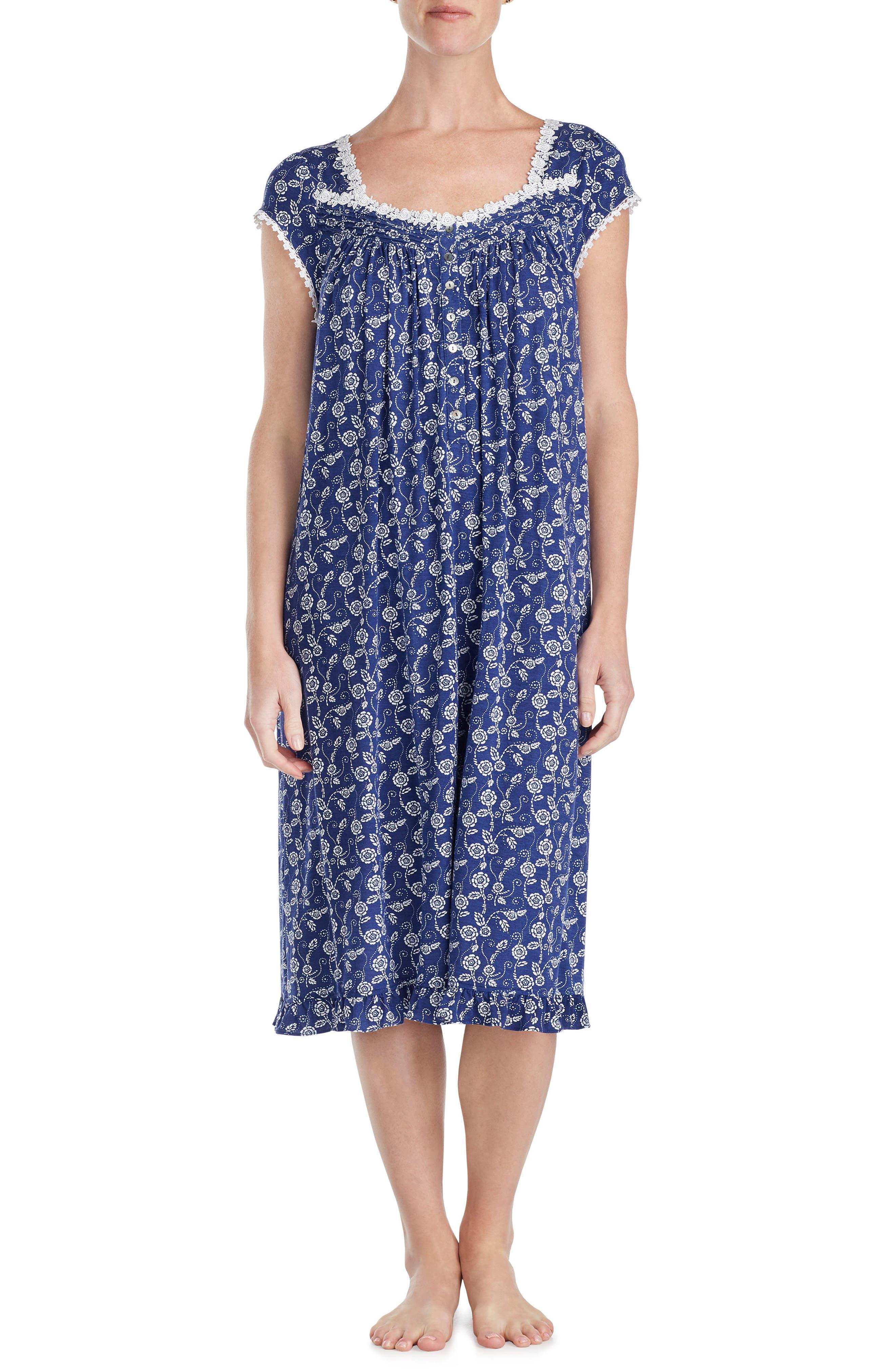 Floral Print Nightgown,                         Main,                         color, Indigo Print
