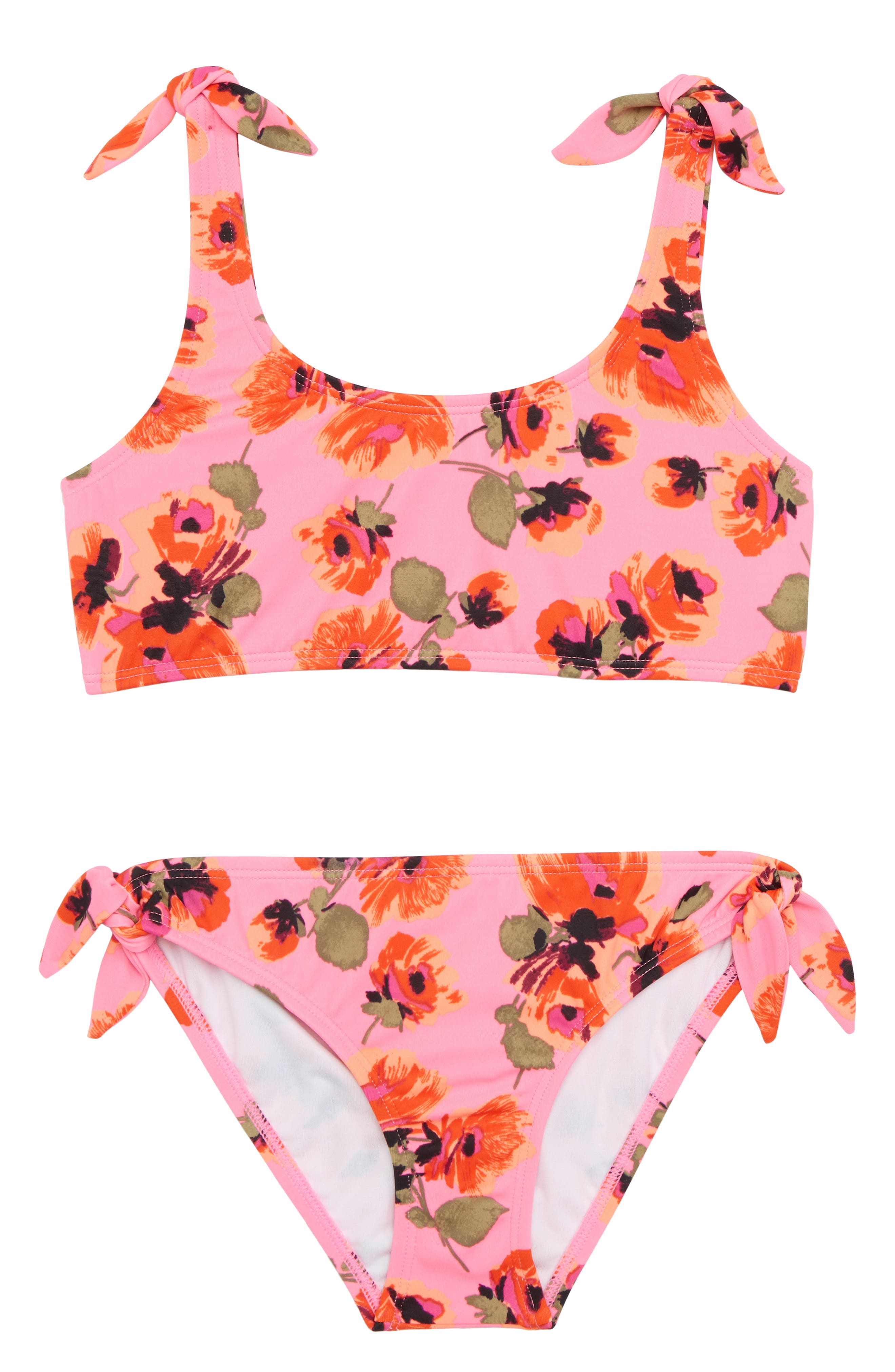 Bella Floral Two-Piece Swimsuit,                             Main thumbnail 1, color,                             Tahiti Pink