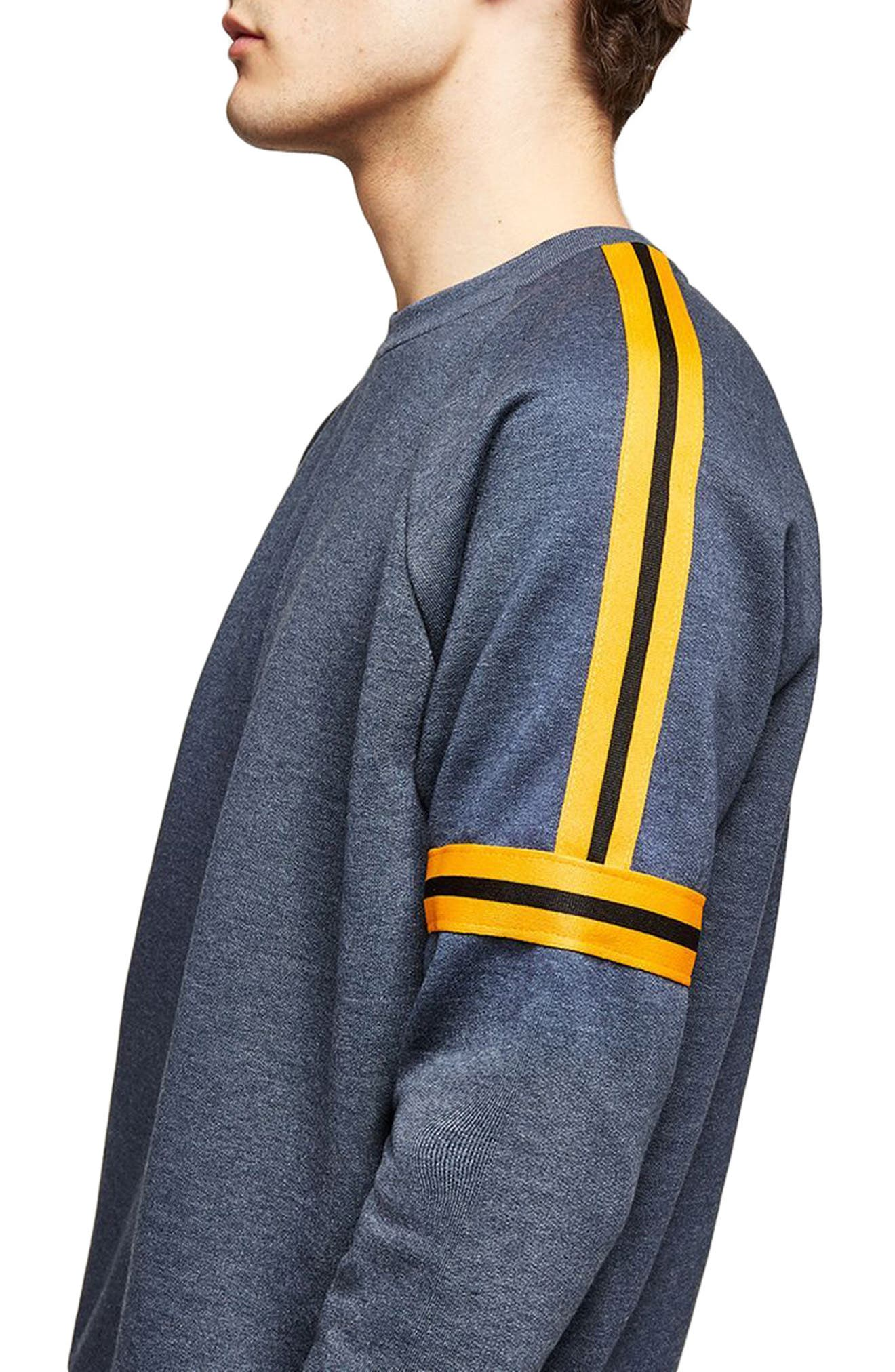 Tape Crewneck Sweatshirt,                             Alternate thumbnail 3, color,                             Dark Blue