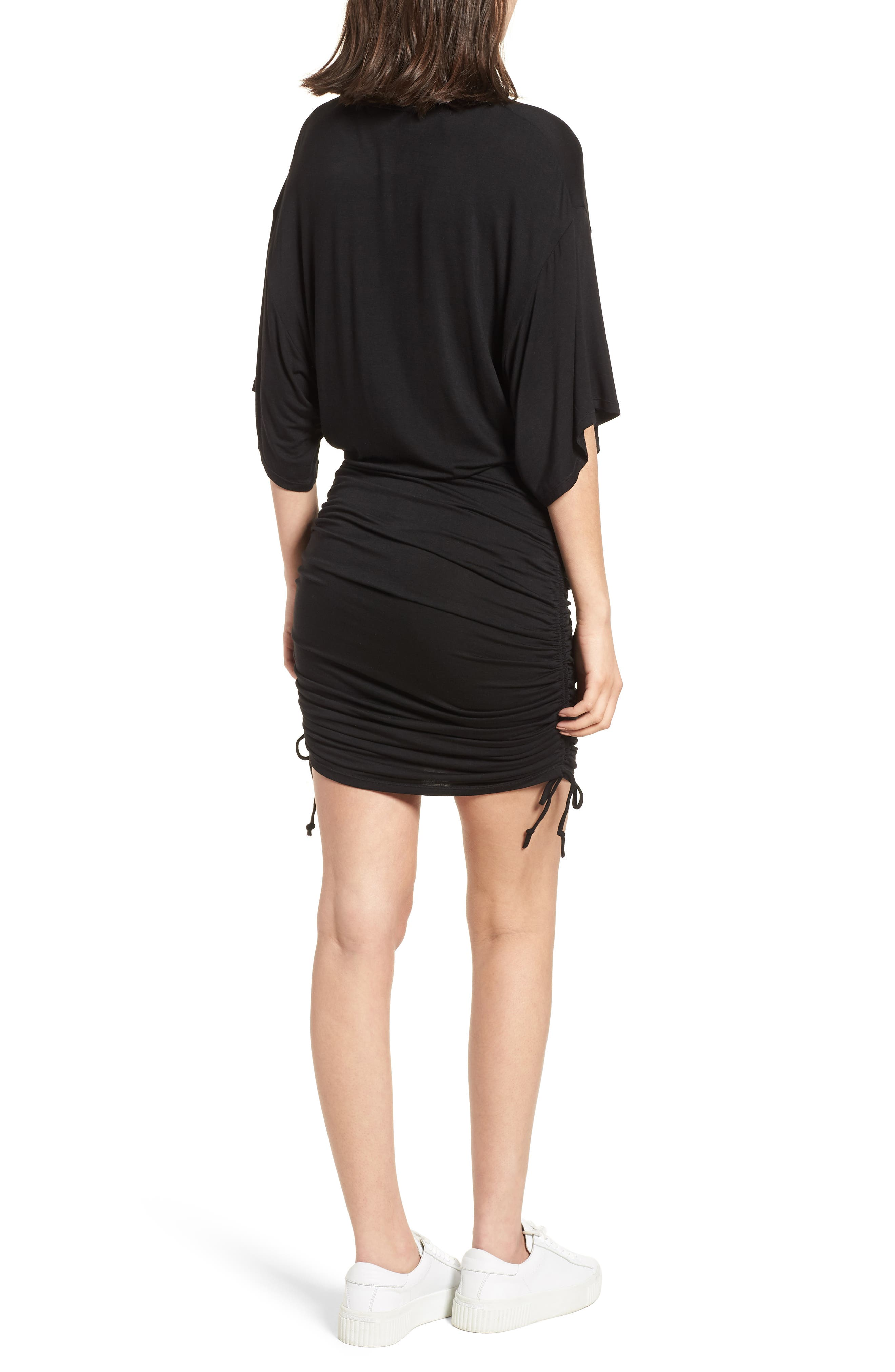 Short Sleeve Ruched Dress,                             Alternate thumbnail 2, color,                             Black