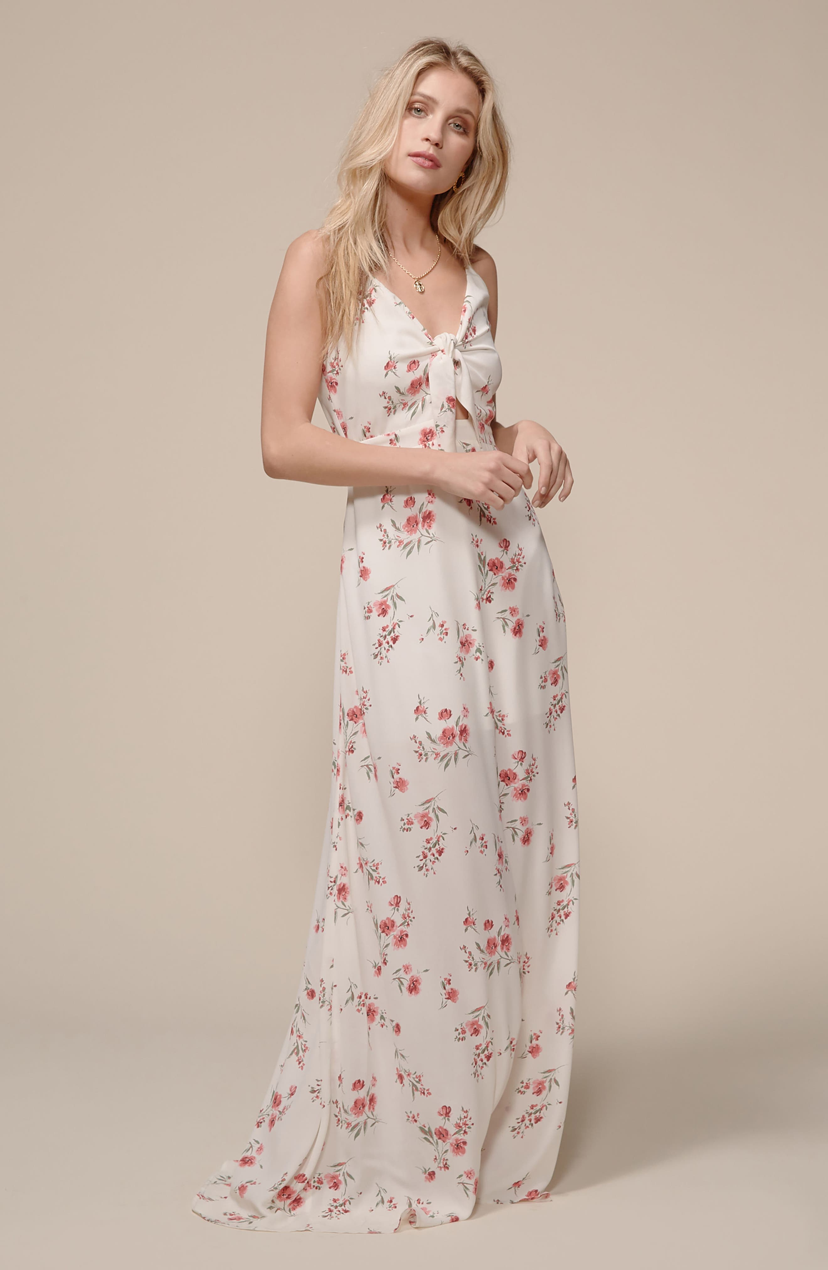 Tie Front Maxi Dress,                             Alternate thumbnail 2, color,                             Ivory Floral