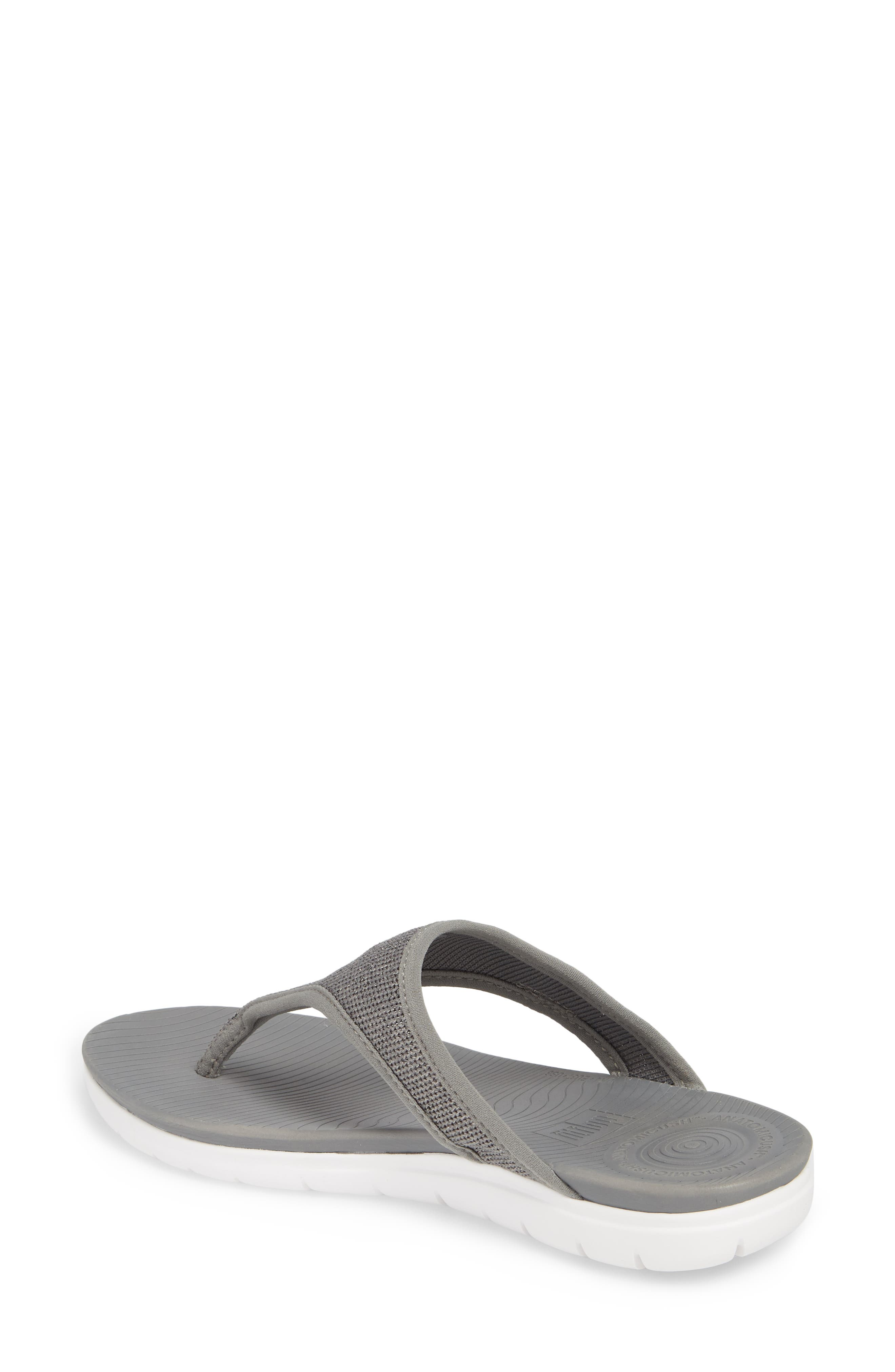 Überknit Flip Flop,                             Alternate thumbnail 2, color,                             Charcoal Grey/ Pewter Leather