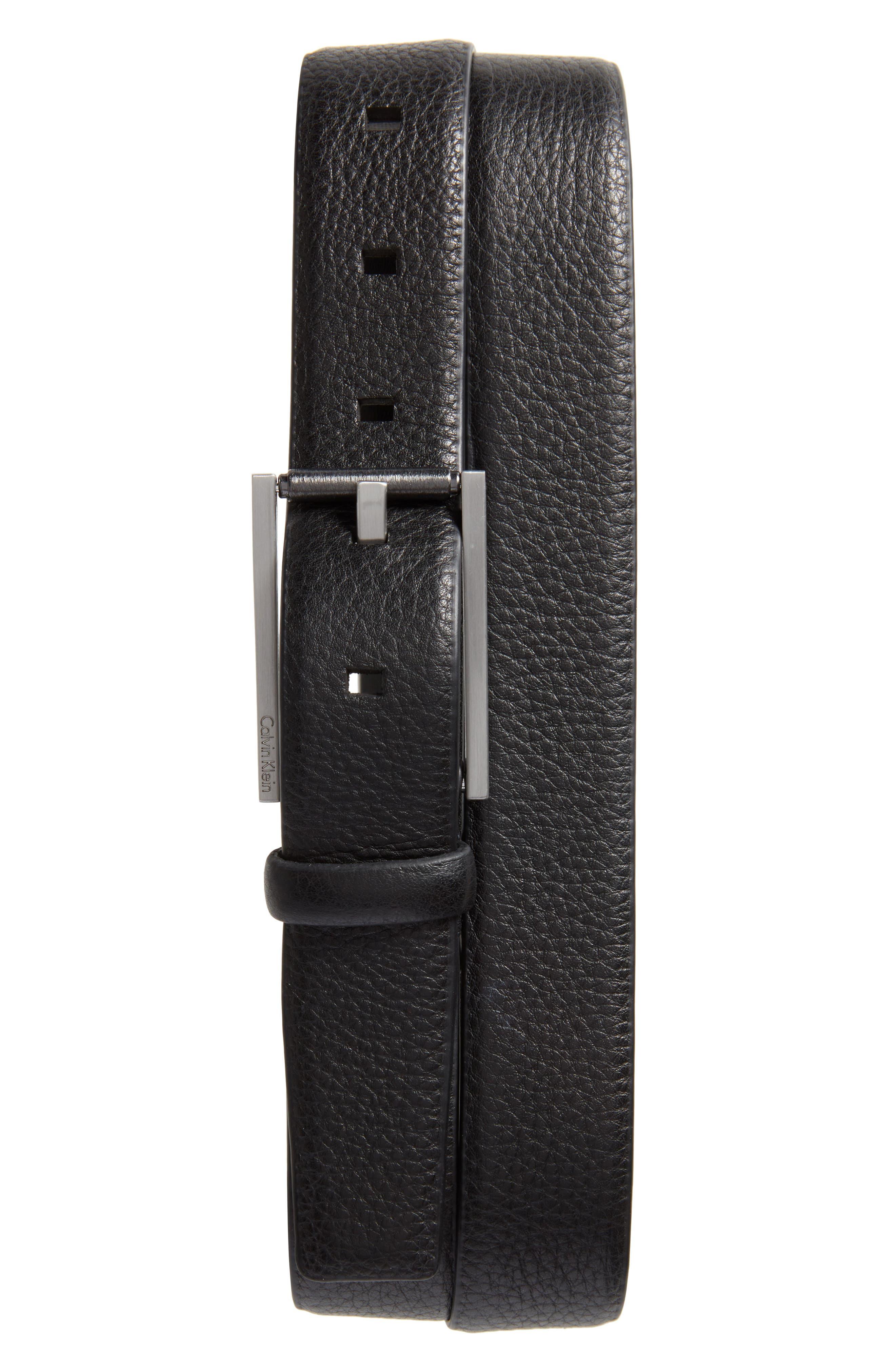 Pebbled Leather Belt,                             Main thumbnail 1, color,                             Black