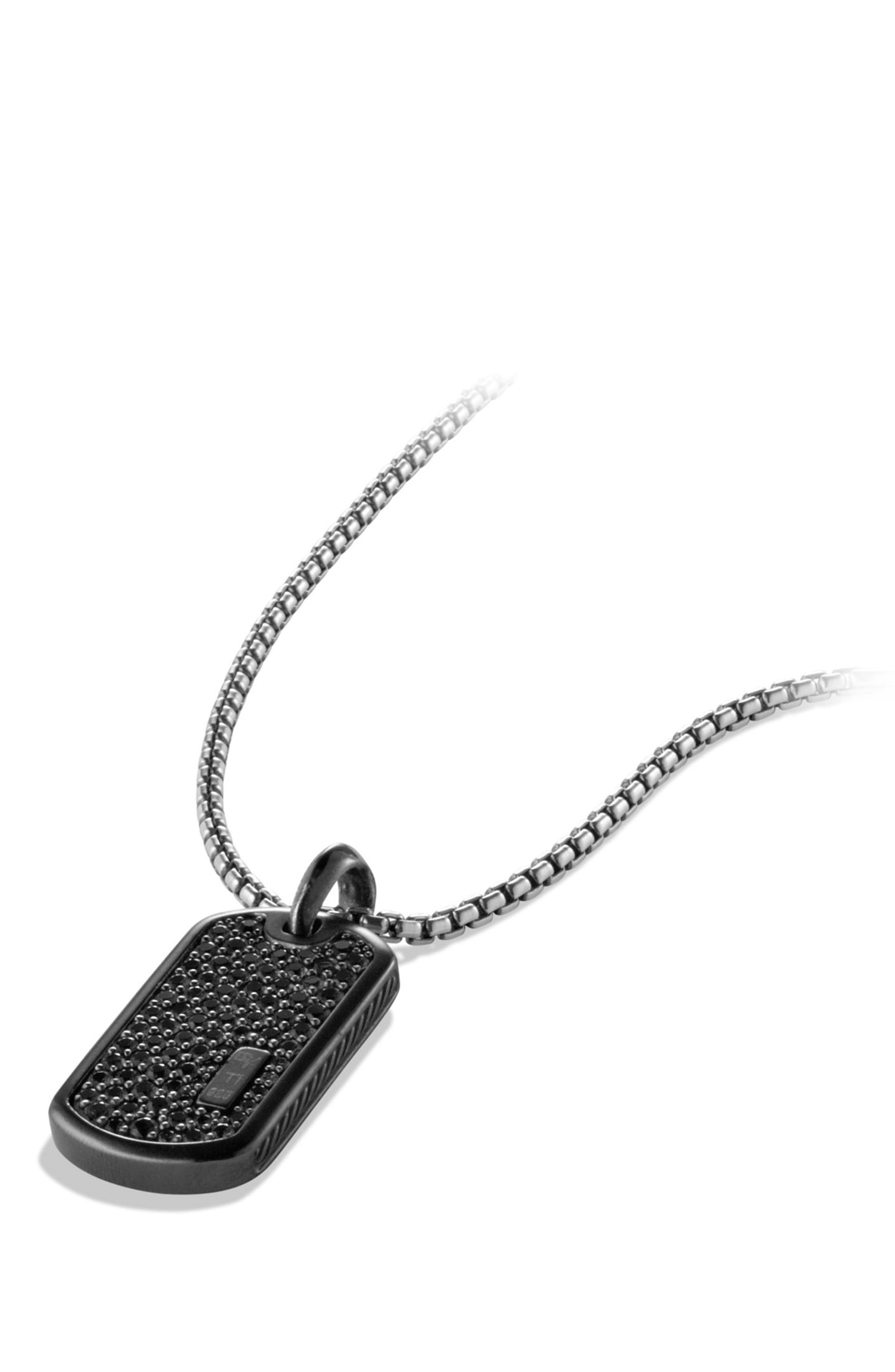 Pavé Tag with Black Diamonds and Black Titanium,                             Alternate thumbnail 3, color,                             Black Diamond
