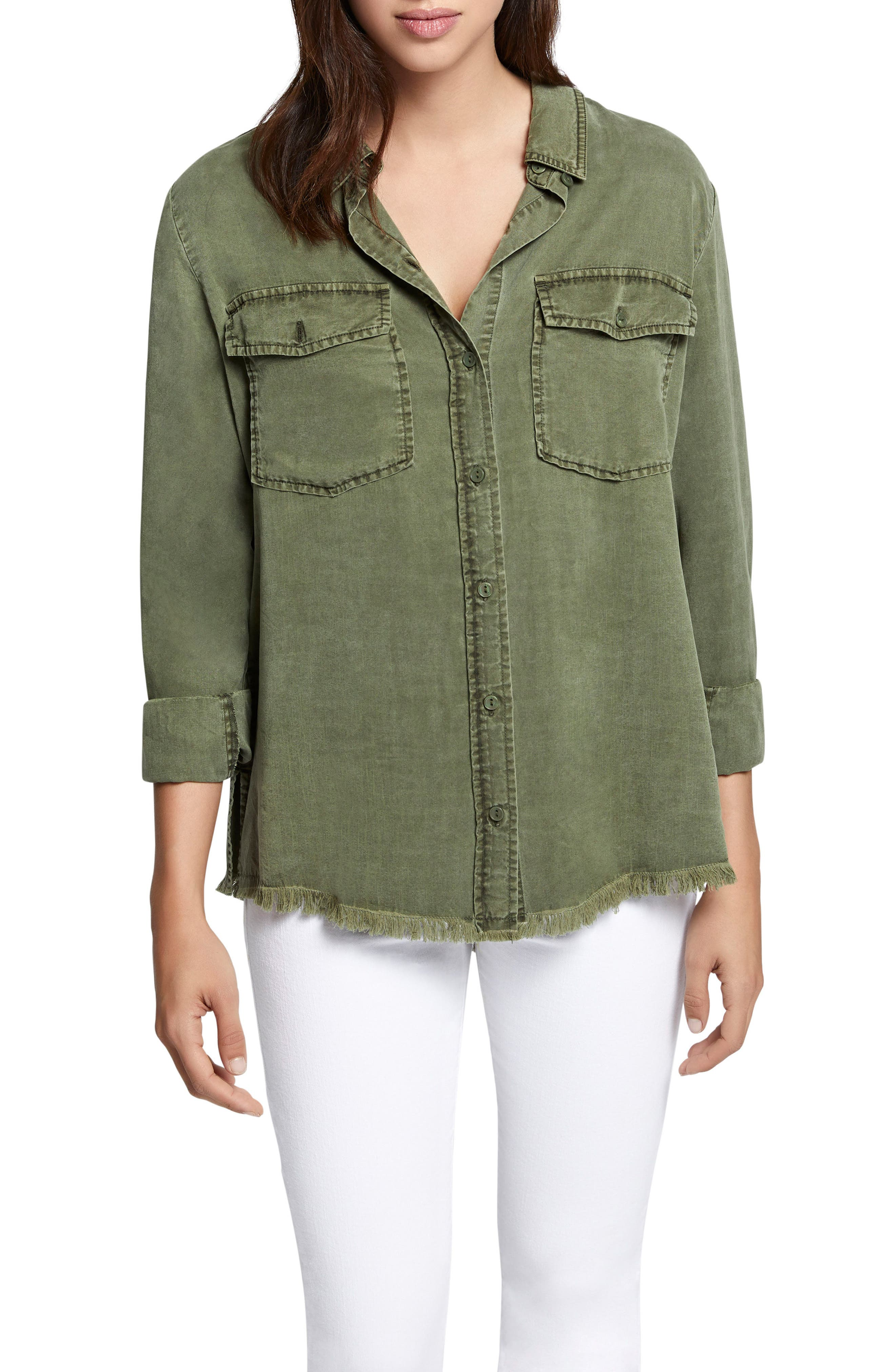 Raw Hem Shirt,                         Main,                         color, Cadet