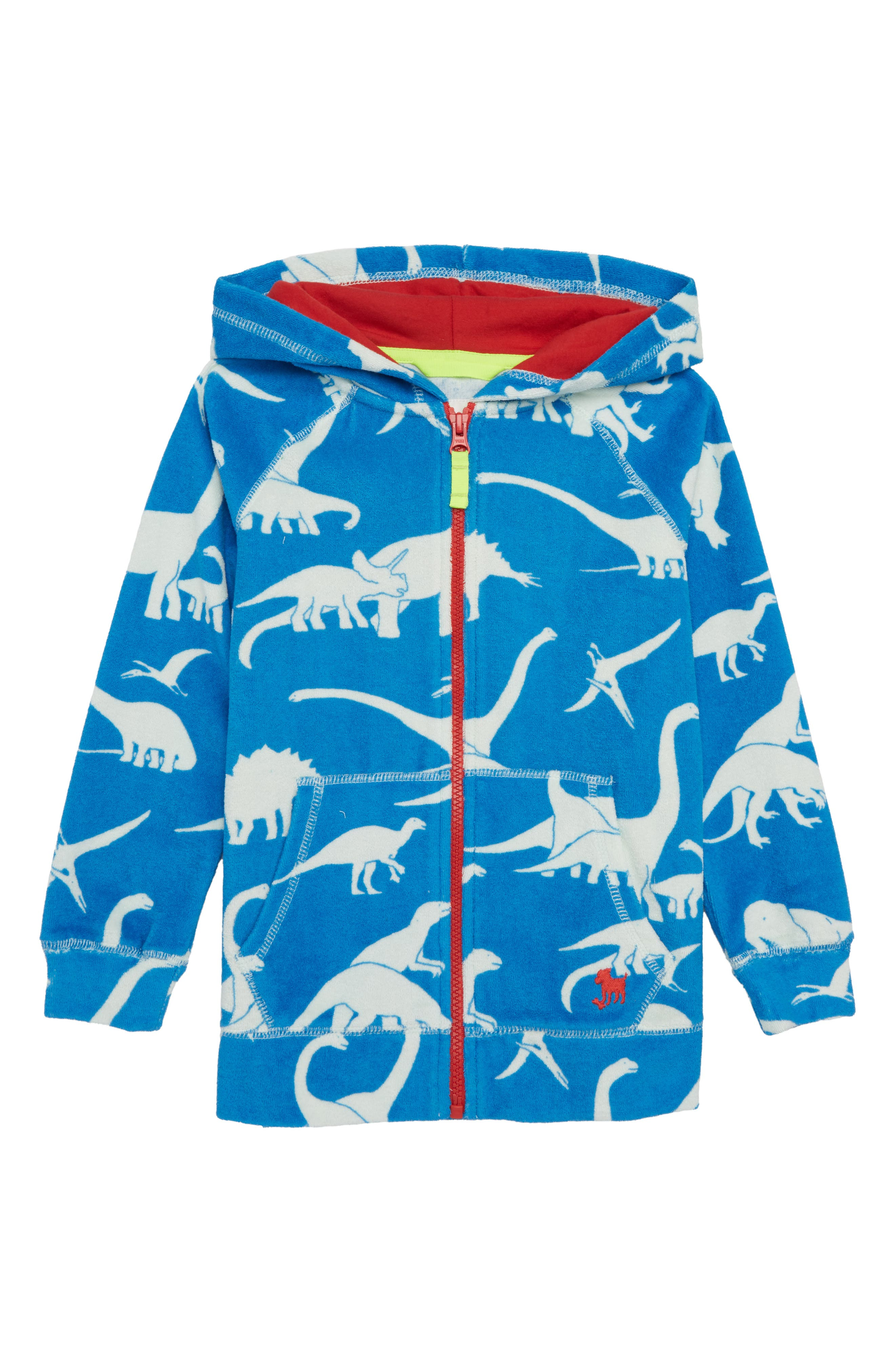 Dino Toweling Zip Hoodie,                             Main thumbnail 1, color,                             Yogo Blue Dinos