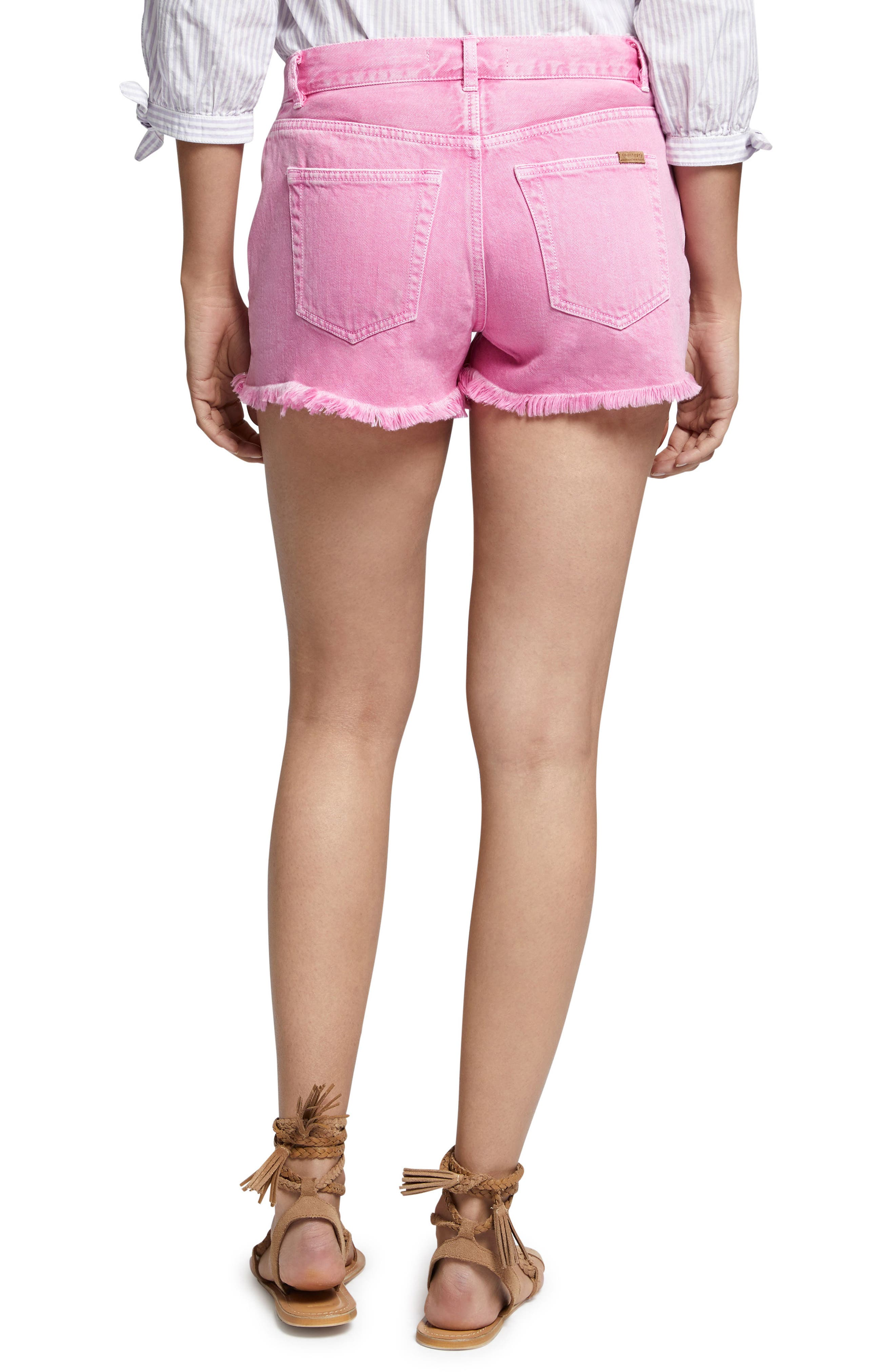 Wild Cherry Fringed Jean Shorts,                             Alternate thumbnail 2, color,                             Washed Wild Cherry