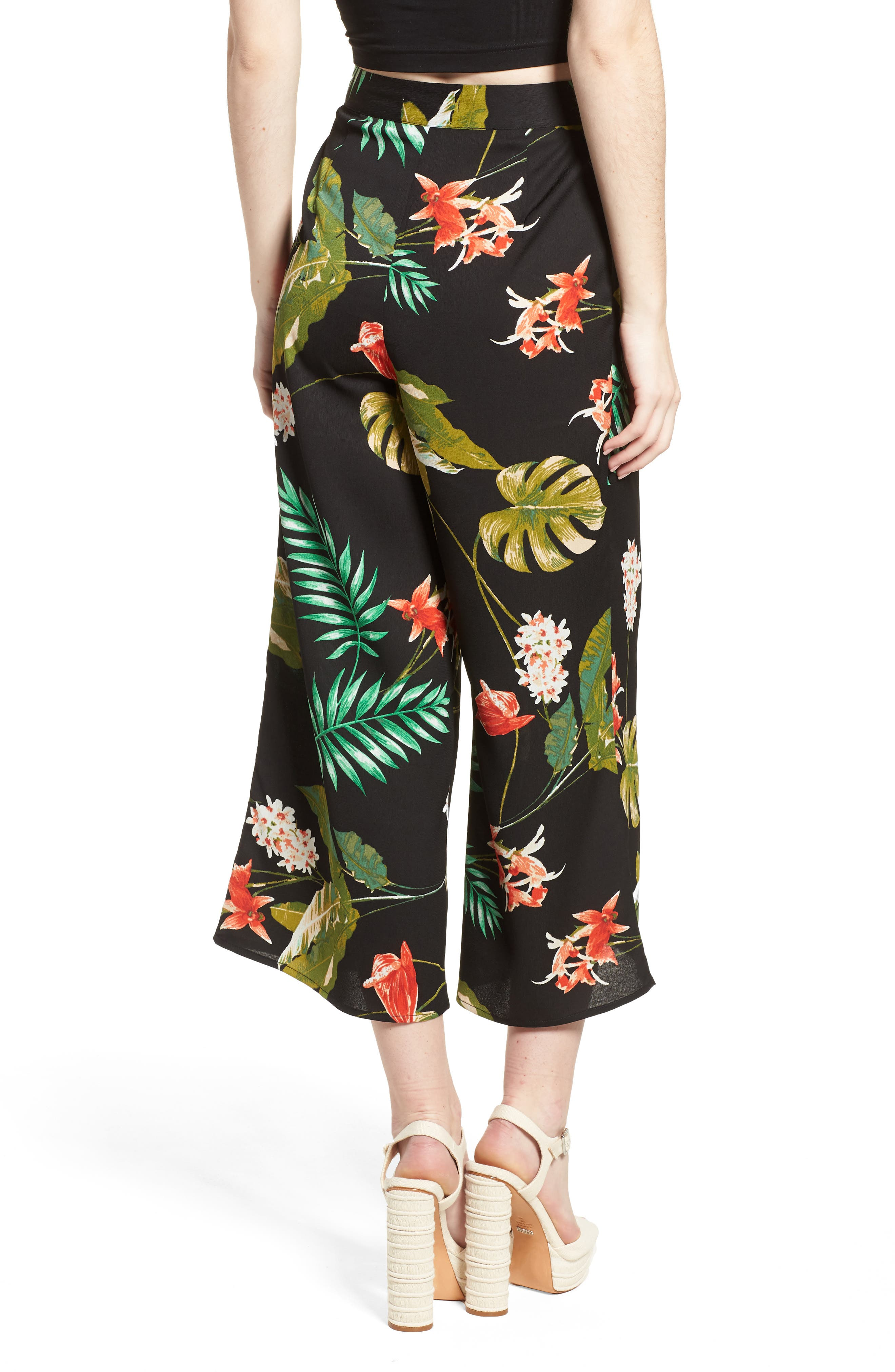 Tropical Print Culottes,                             Alternate thumbnail 3, color,                             Black Multi