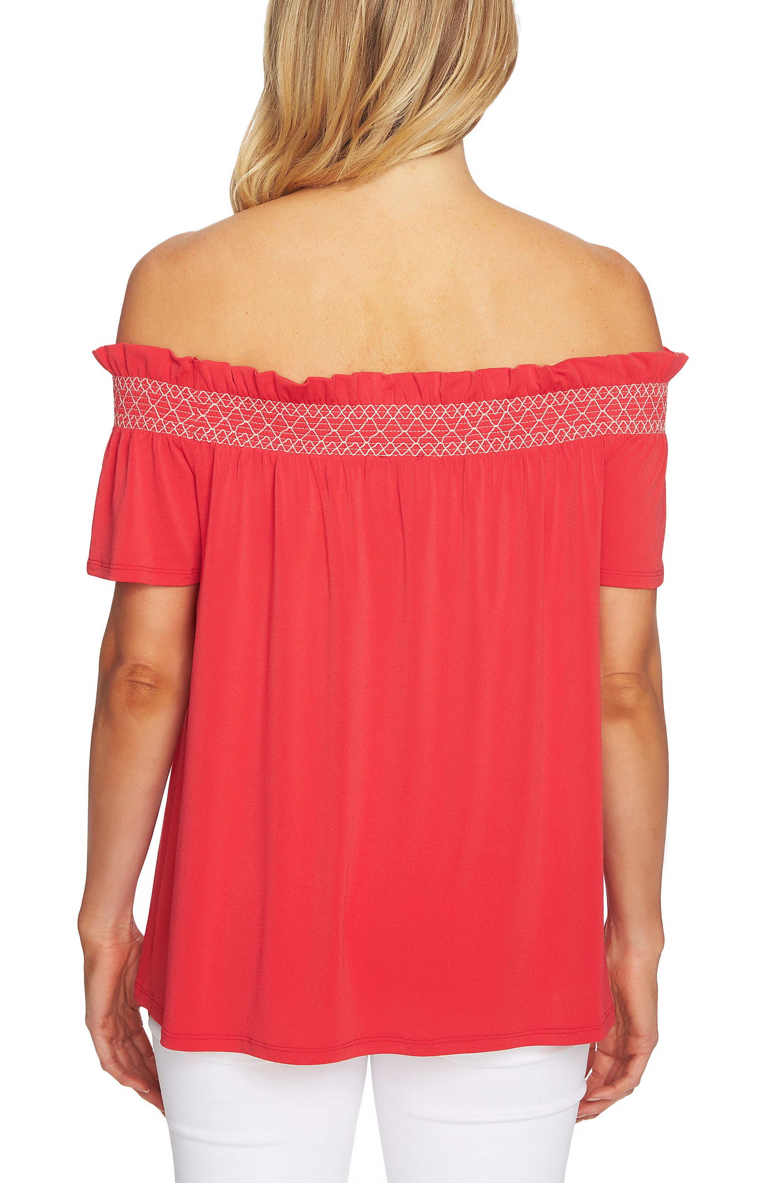 Smocked Off the Shoulder Crepe Top,                             Alternate thumbnail 2, color,                             Wildfire Red