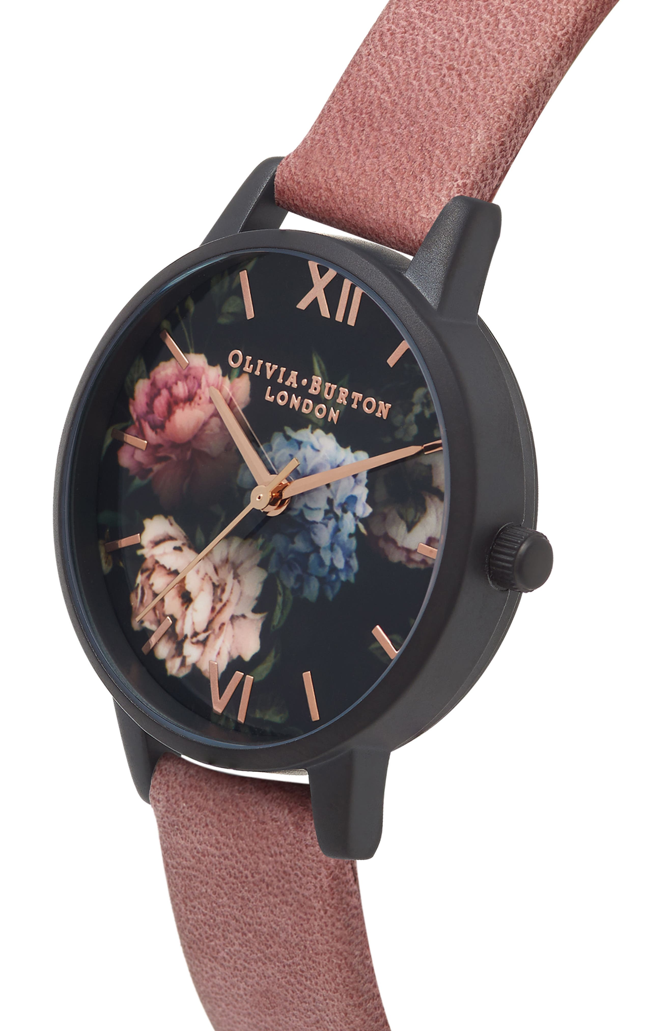 After Dark Leather Strap Watch, 30mm,                             Alternate thumbnail 3, color,                             Rose/ Floral/ Black