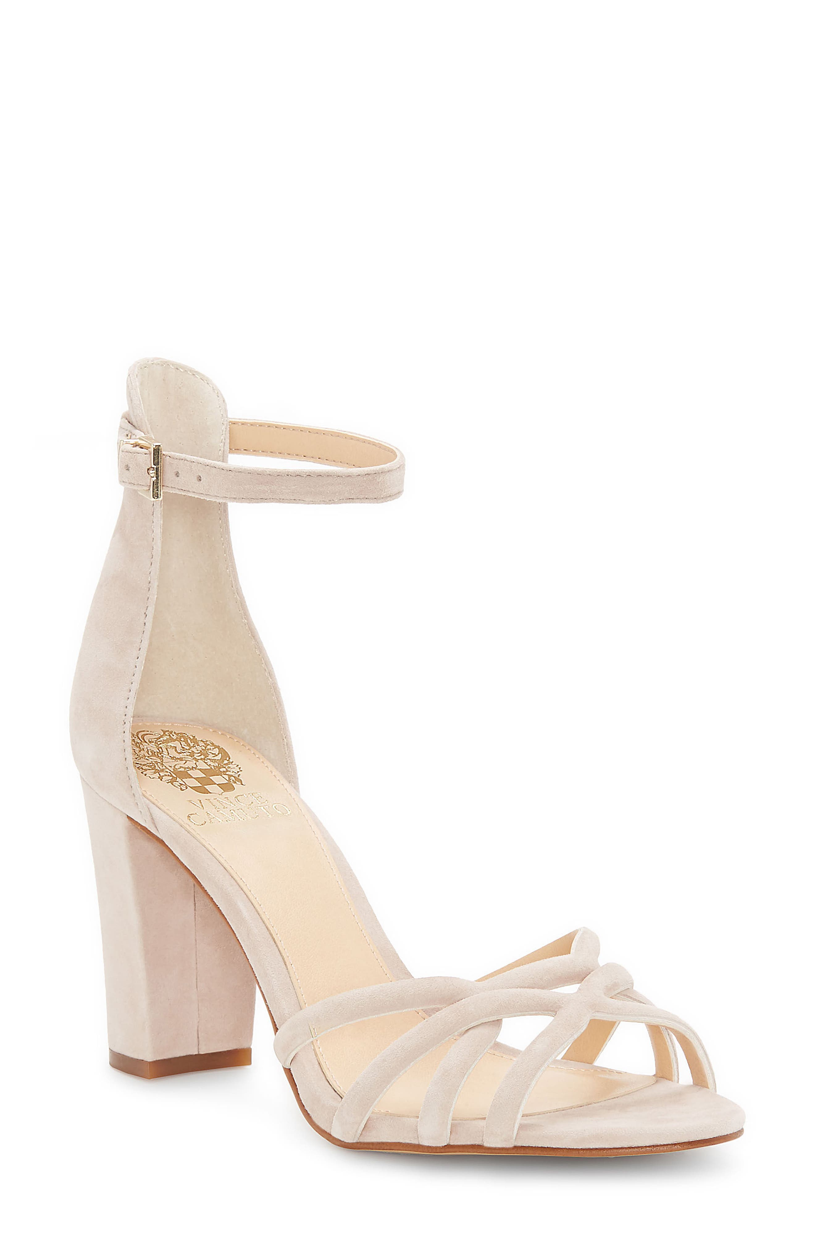 Catelia Ankle Strap Sandal,                             Main thumbnail 1, color,                             Taupe Suede