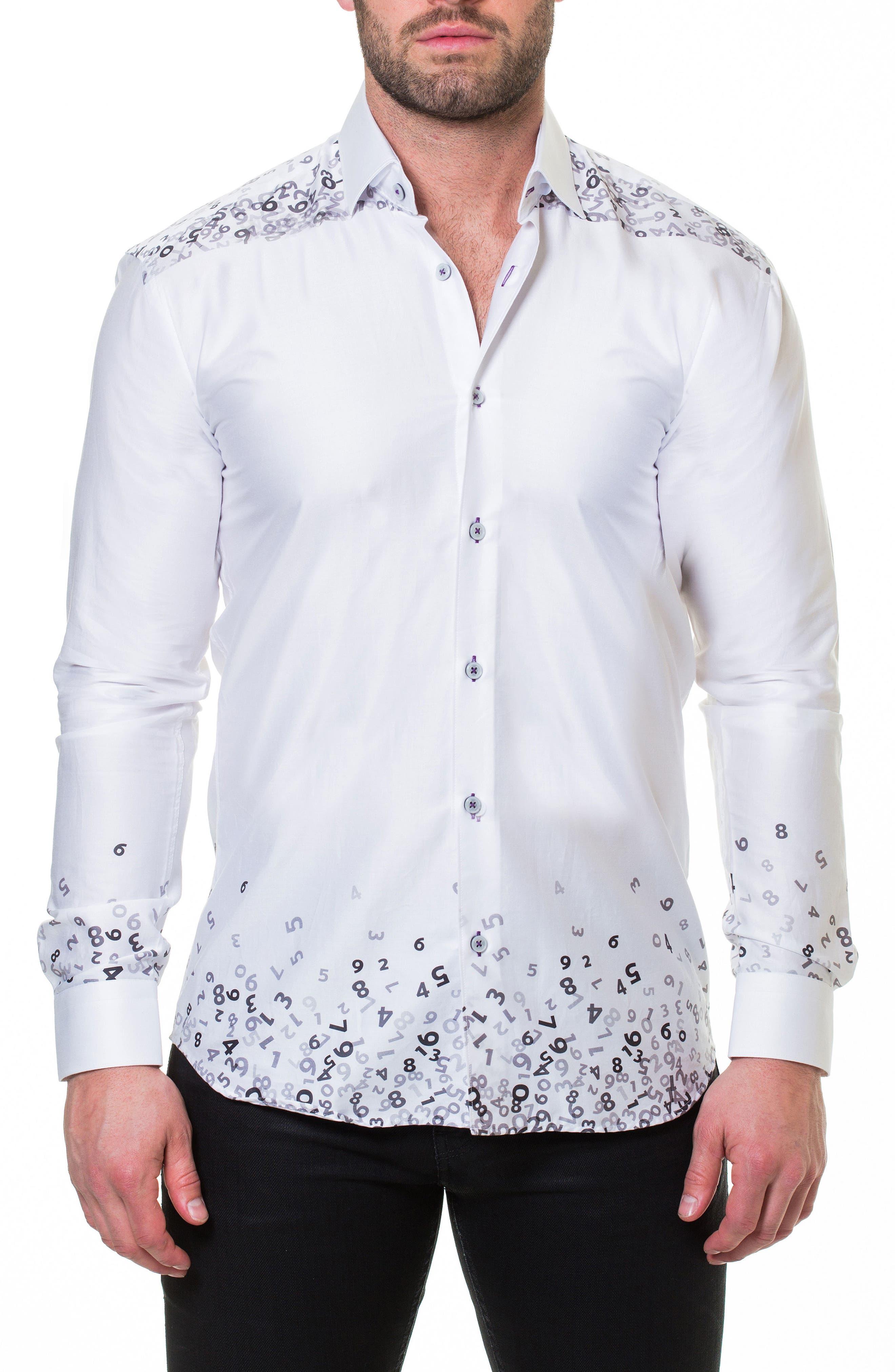 Luxor Counting White Slim Fit Sport Shirt,                             Alternate thumbnail 3, color,                             White