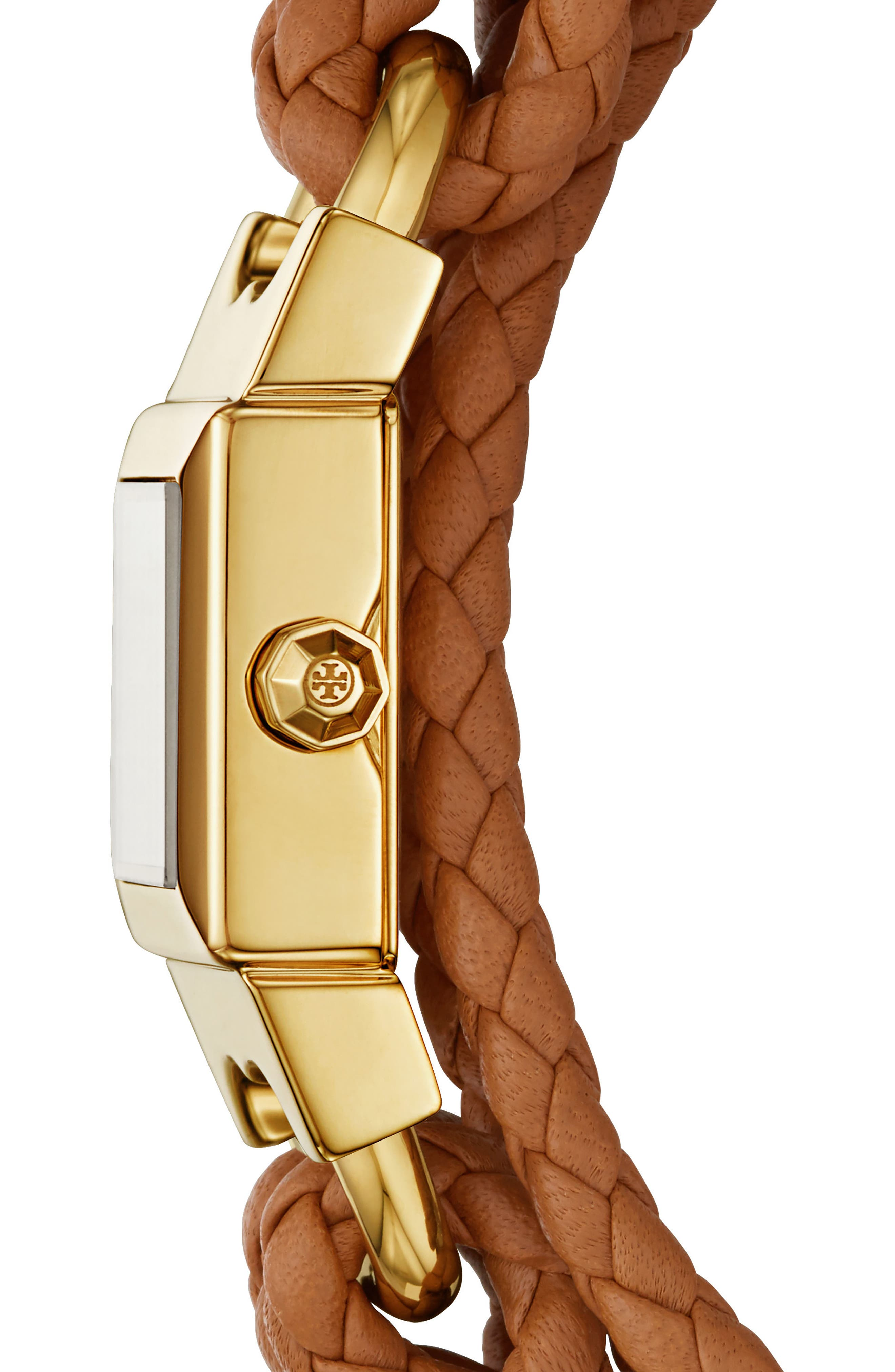 Gemini Link Square Leather Strap Watch, 18mm,                             Alternate thumbnail 2, color,                             Luggage/ Cream/ Gold