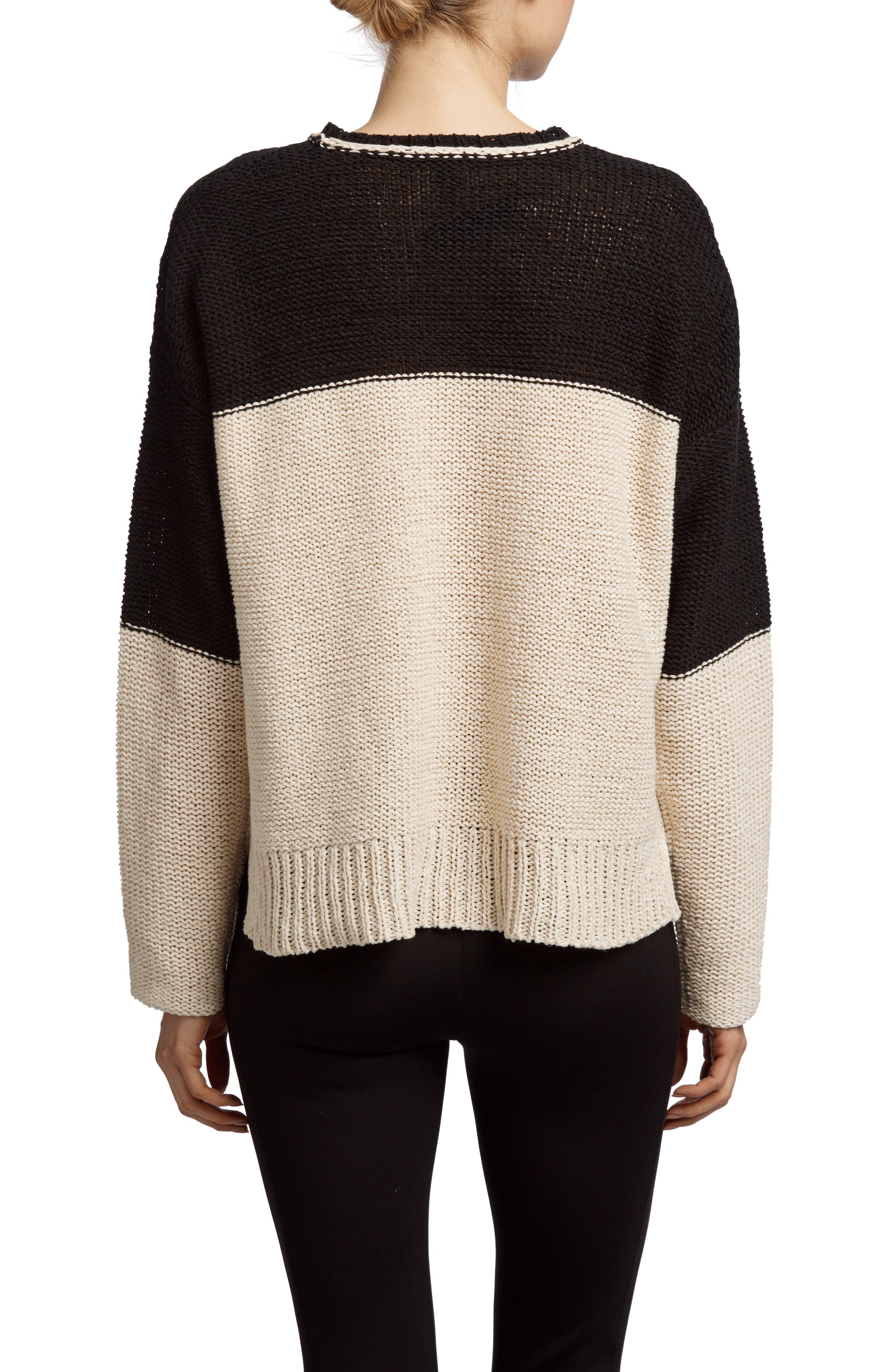 Crewneck Sweater,                             Alternate thumbnail 2, color,                             Natural/ Black