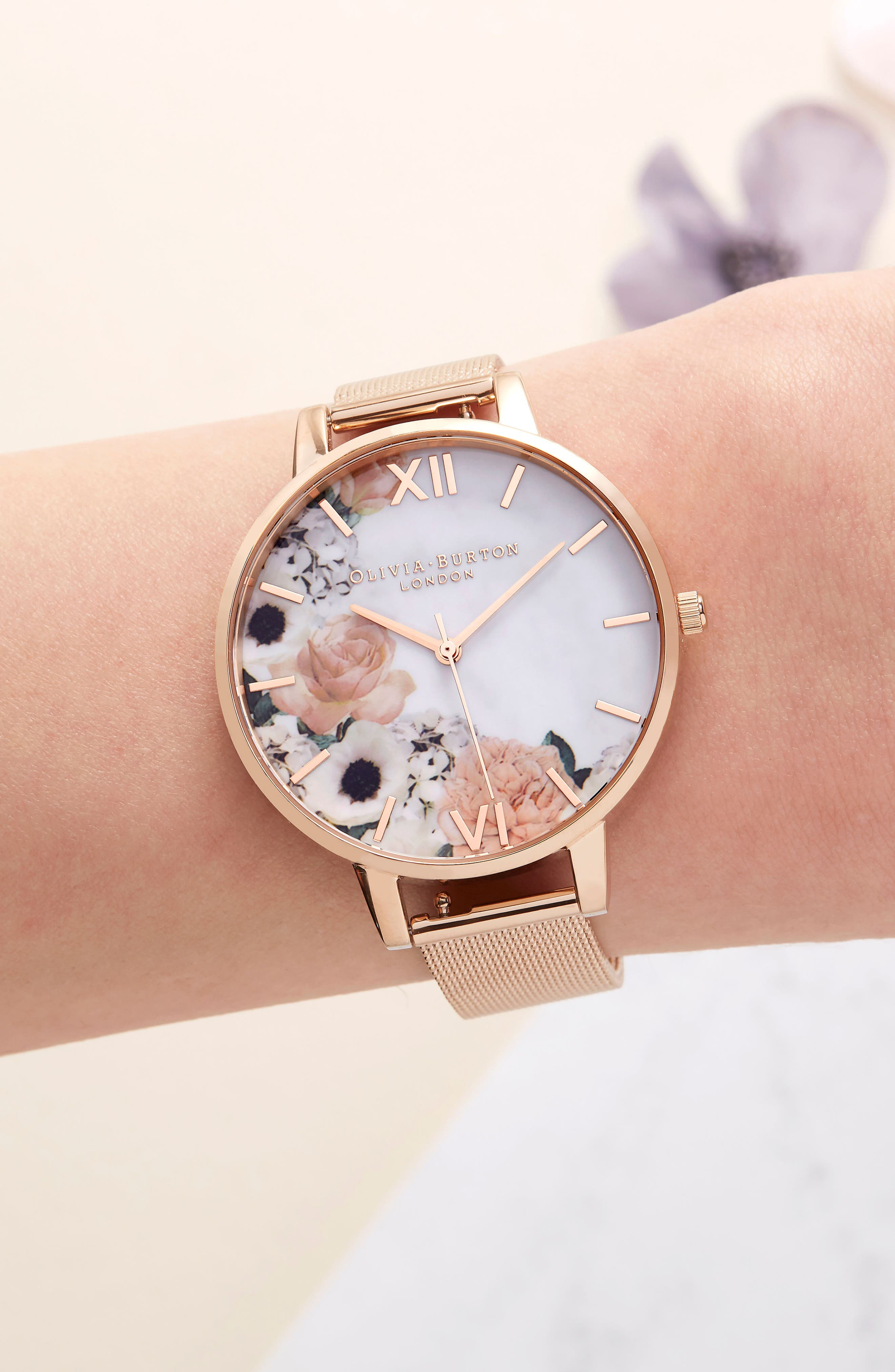 Marble Floral Mesh Strap Watch, 38mm,                             Alternate thumbnail 6, color,
