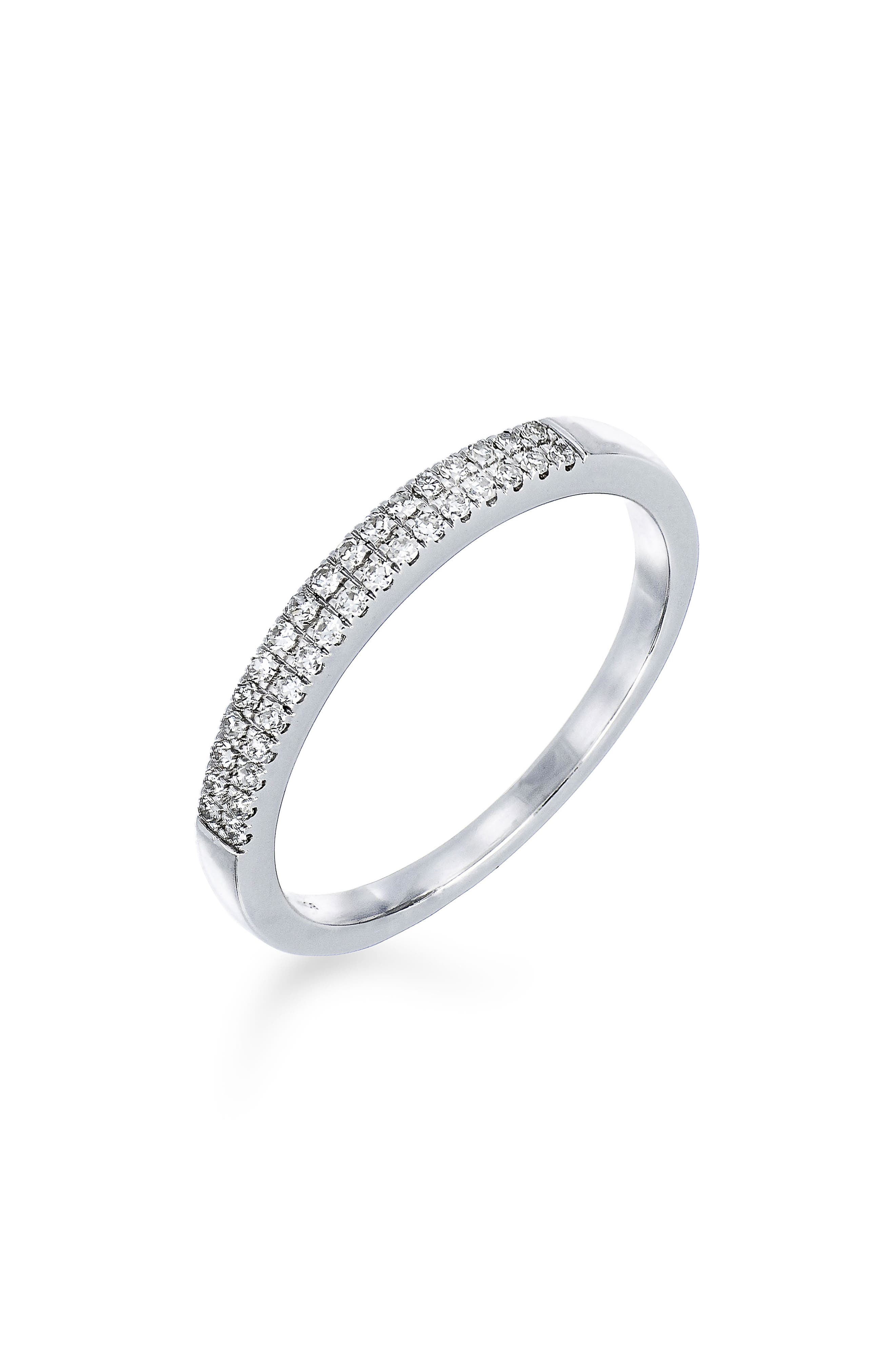 Carrière Double Row Diamond Stack Ring,                             Main thumbnail 1, color,                             Sterling Silver/ Diamond