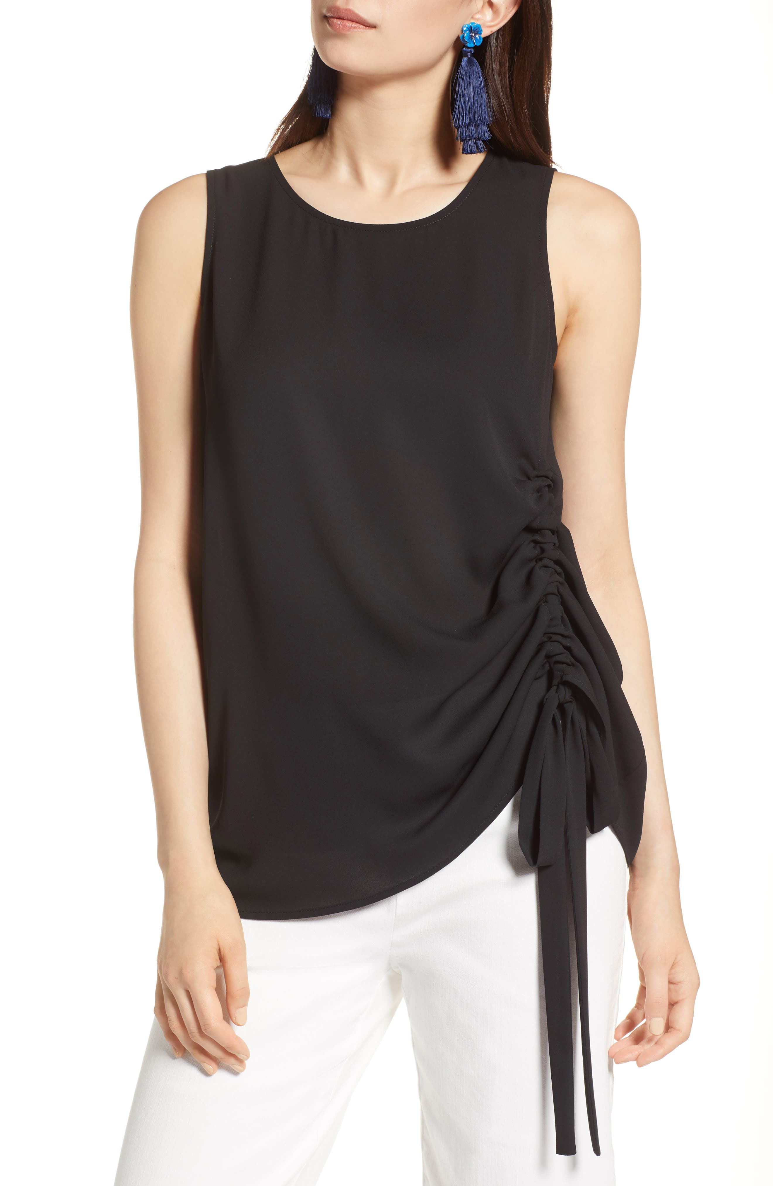 Side Ruched Top,                         Main,                         color, Black
