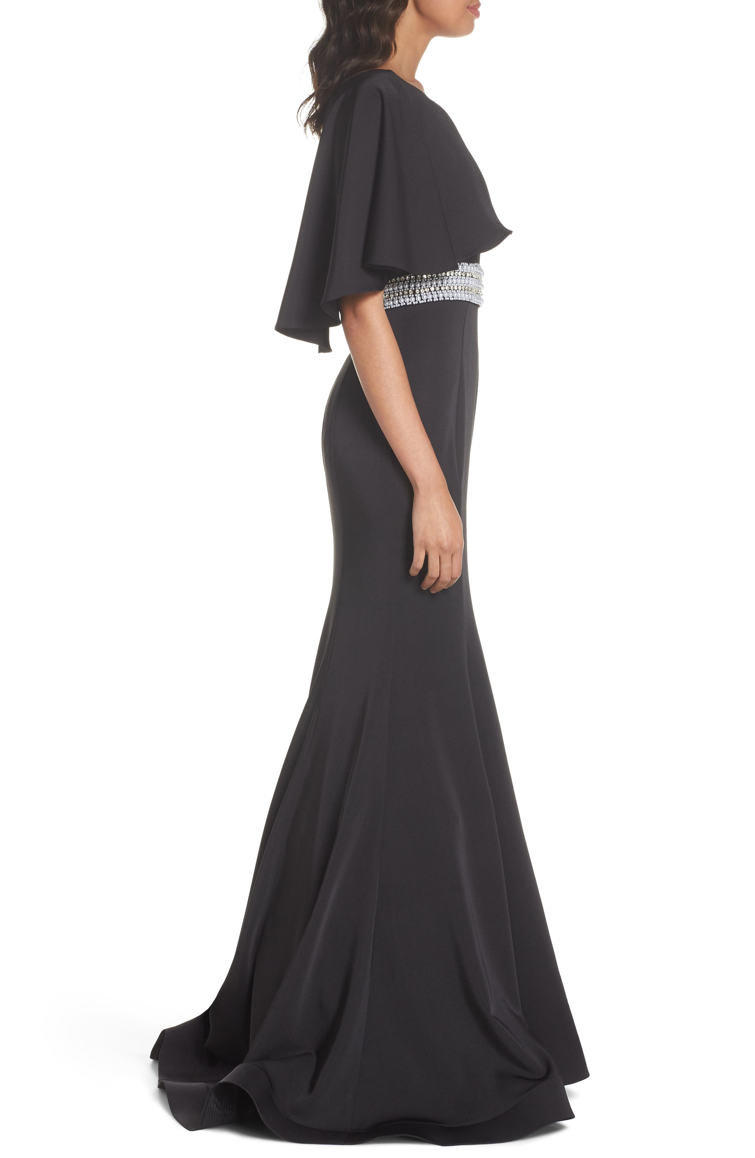 One-Shoulder Gown,                             Alternate thumbnail 3, color,                             Black