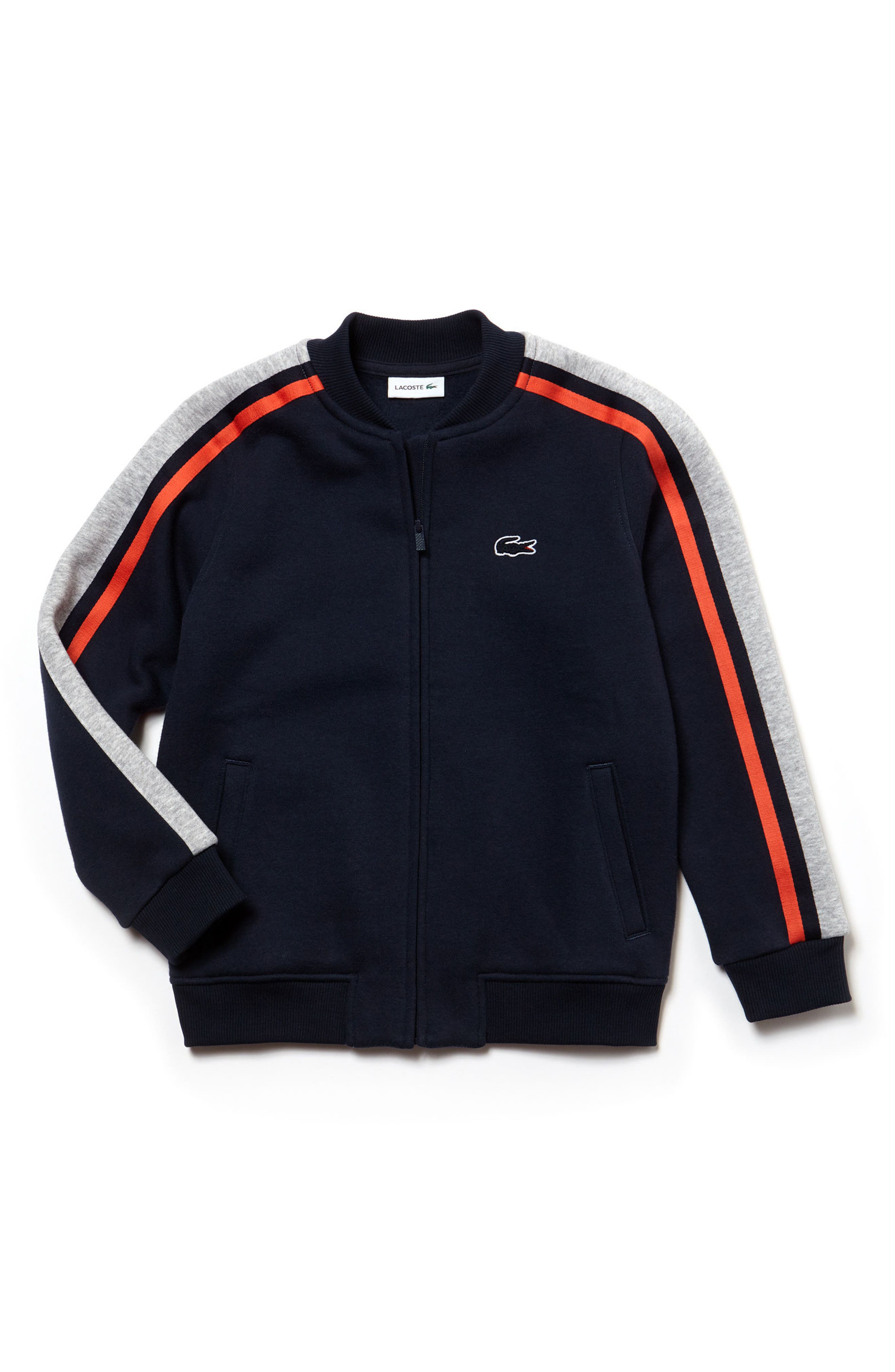 Stripe Zip Sweatshirt,                             Main thumbnail 1, color,                             Navy Blue/ Silver Chine