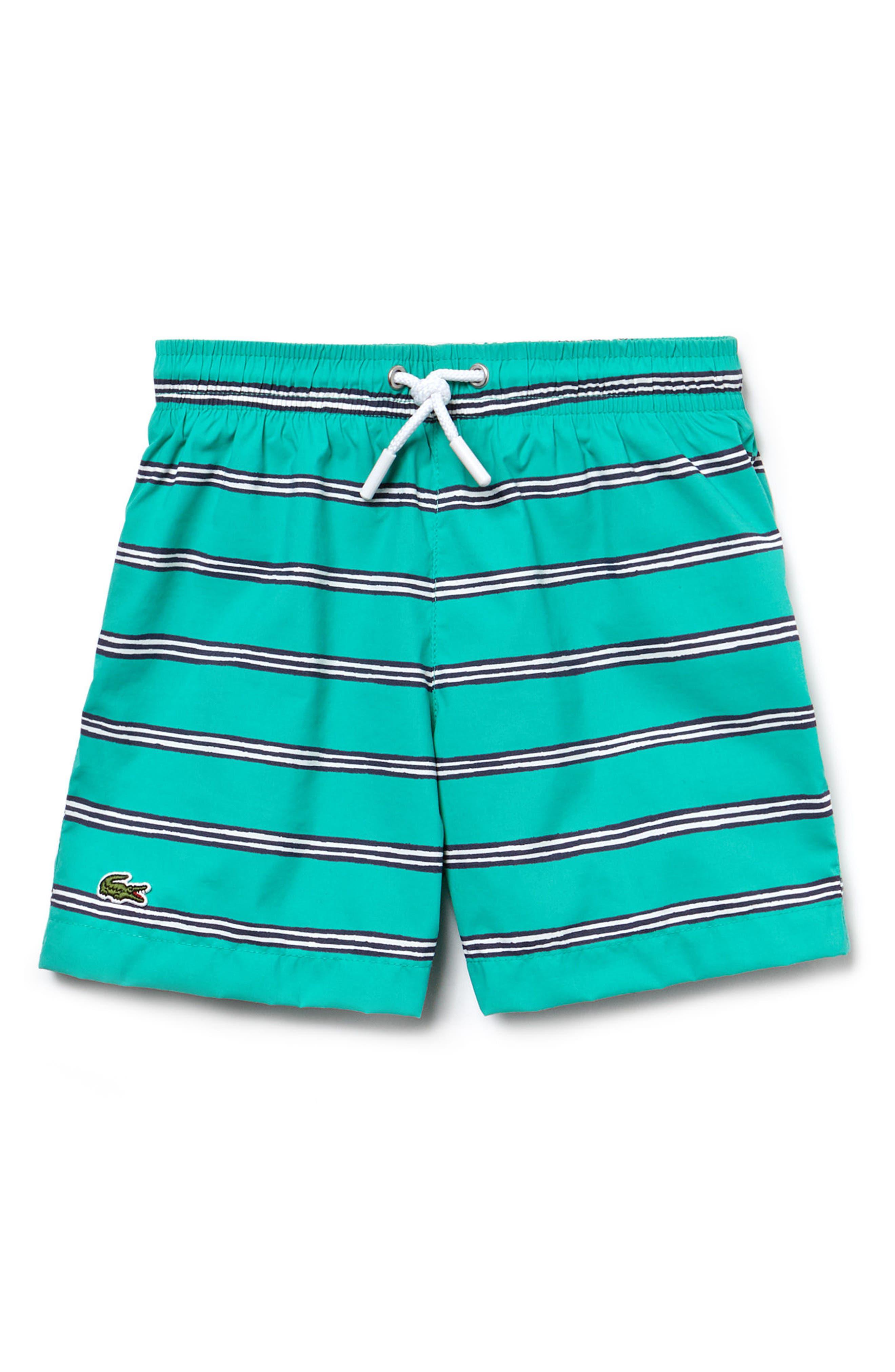 Stripe Swim Trunks,                         Main,                         color, Earthenware Green