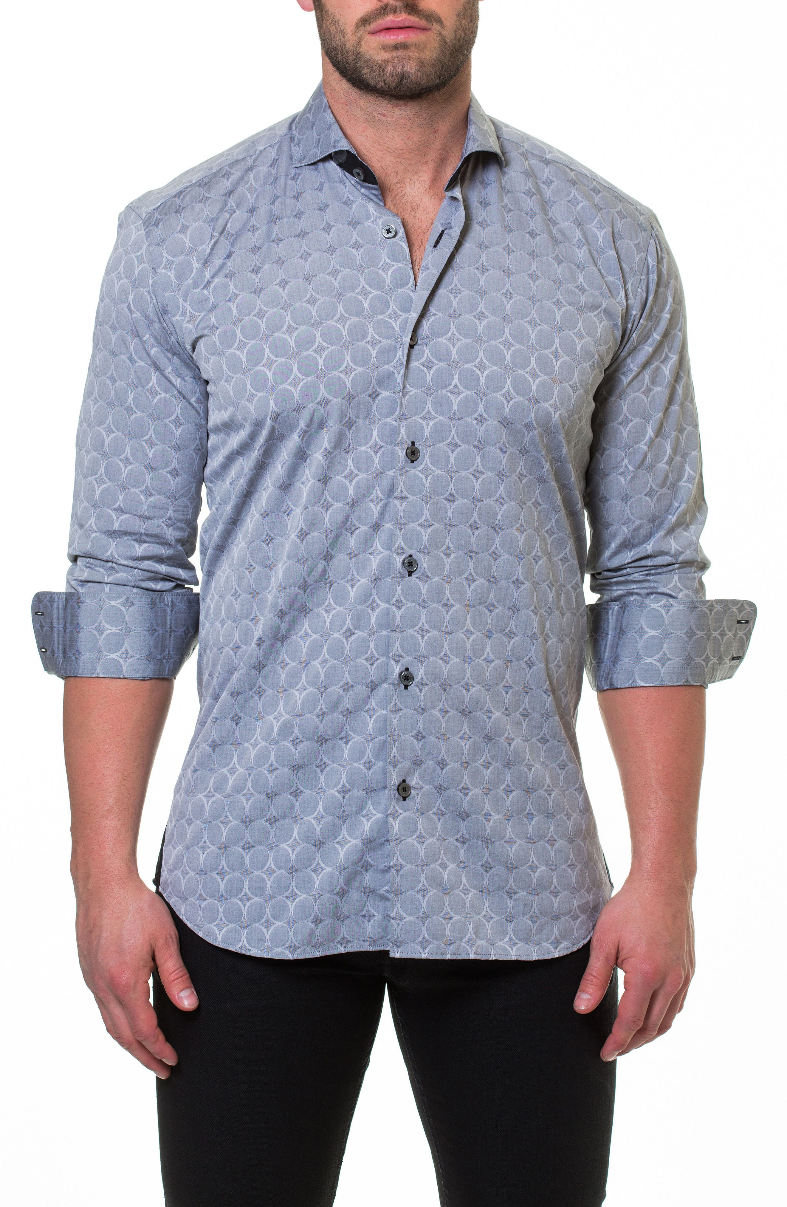 Wall Street Bond Grey Slim Fit Sport Shirt,                             Main thumbnail 1, color,                             Grey