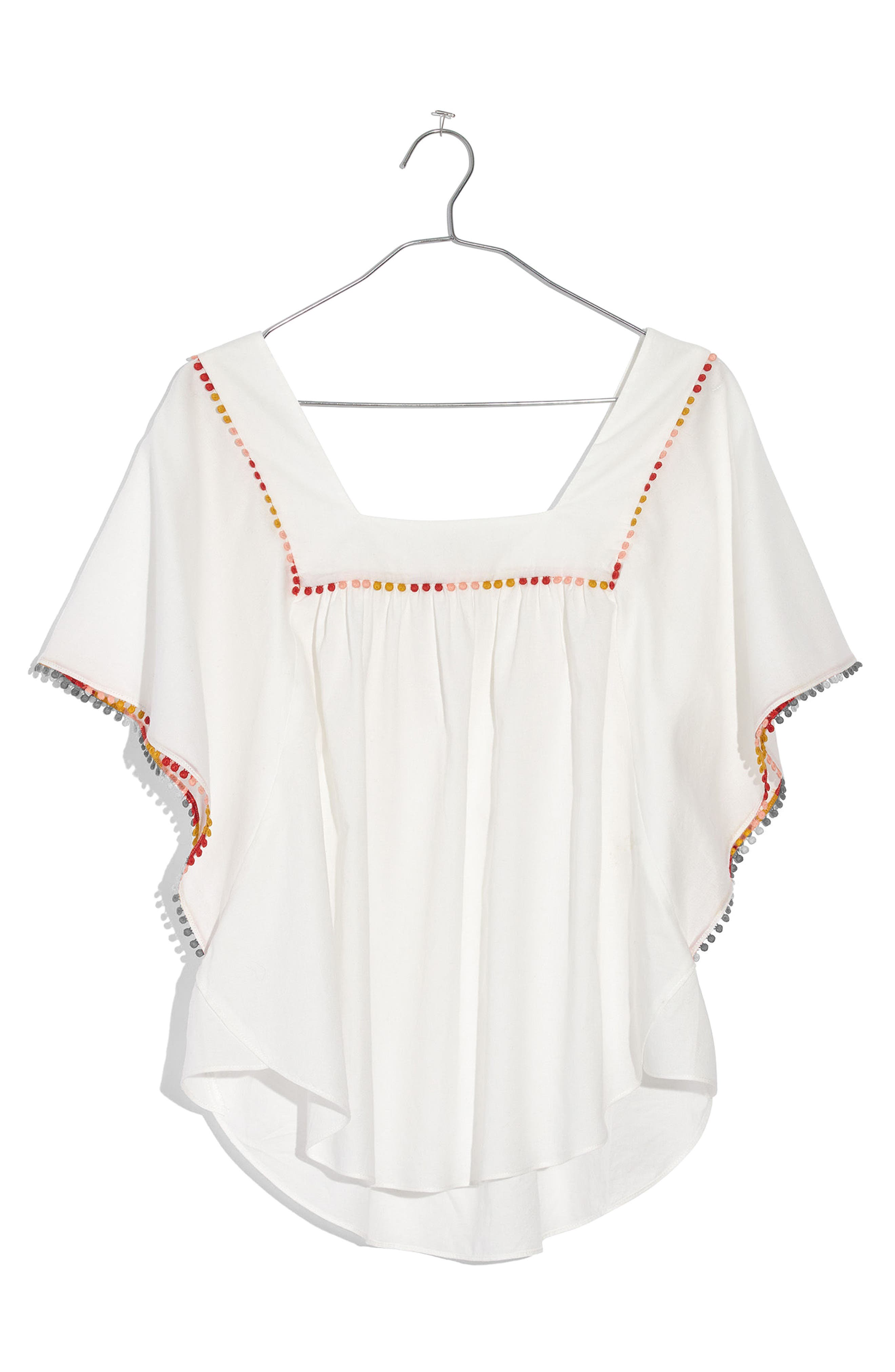 Pompom Butterfly Top,                         Main,                         color, White Wash