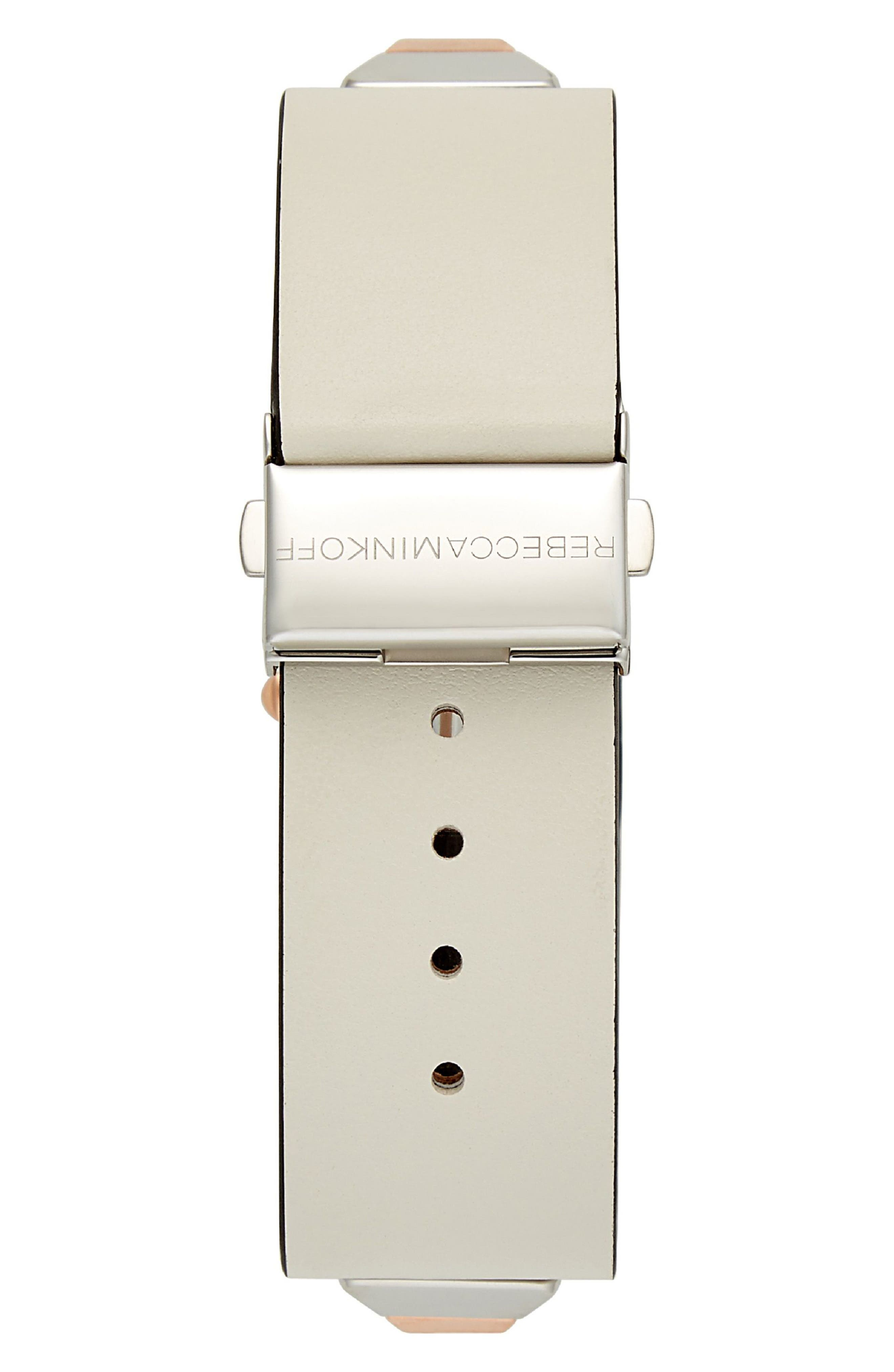 Jet Major Studded Leather Strap Watch, 22mm,                             Alternate thumbnail 2, color,                             White/ Rose Gold/ Silver