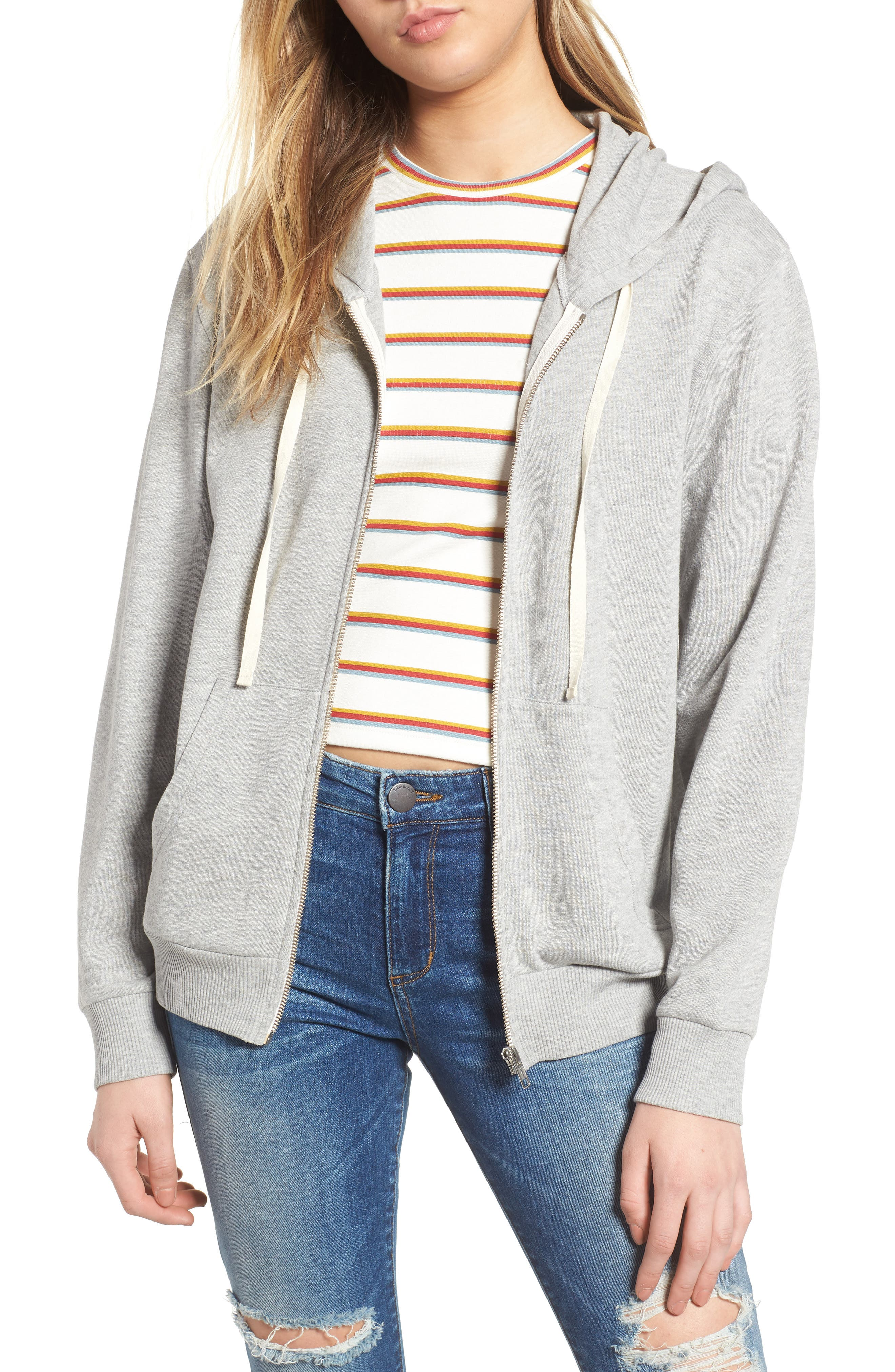 Zip Front Hoodie,                             Main thumbnail 1, color,                             Grey Medium Heather