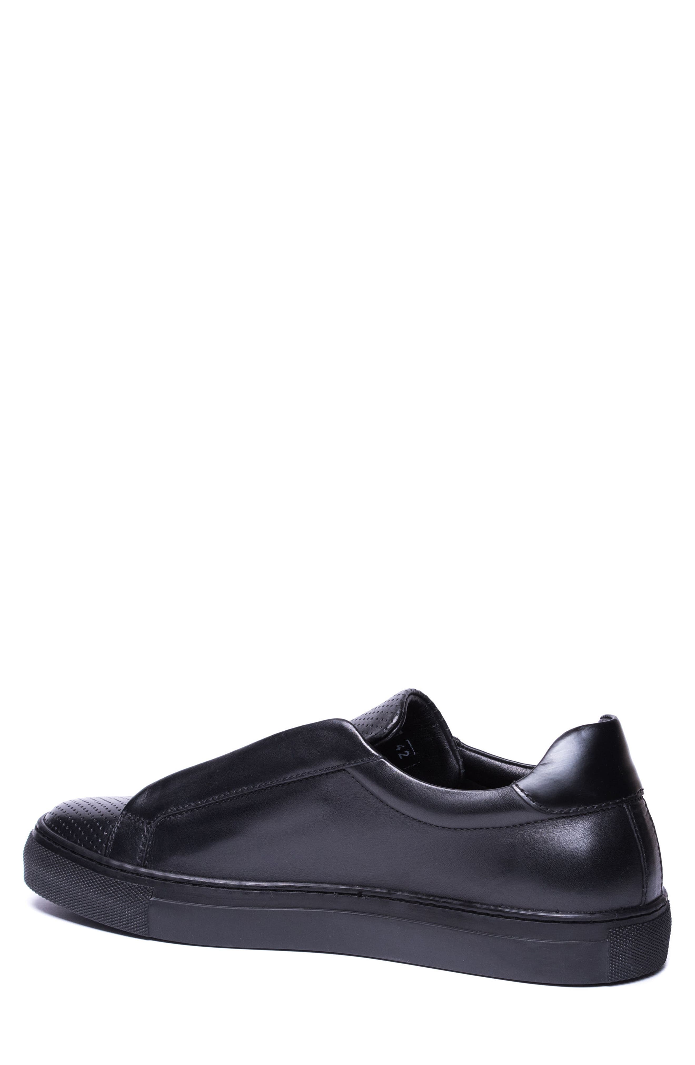Mane Laceless Perforated Sneaker,                             Alternate thumbnail 2, color,                             Black Leather