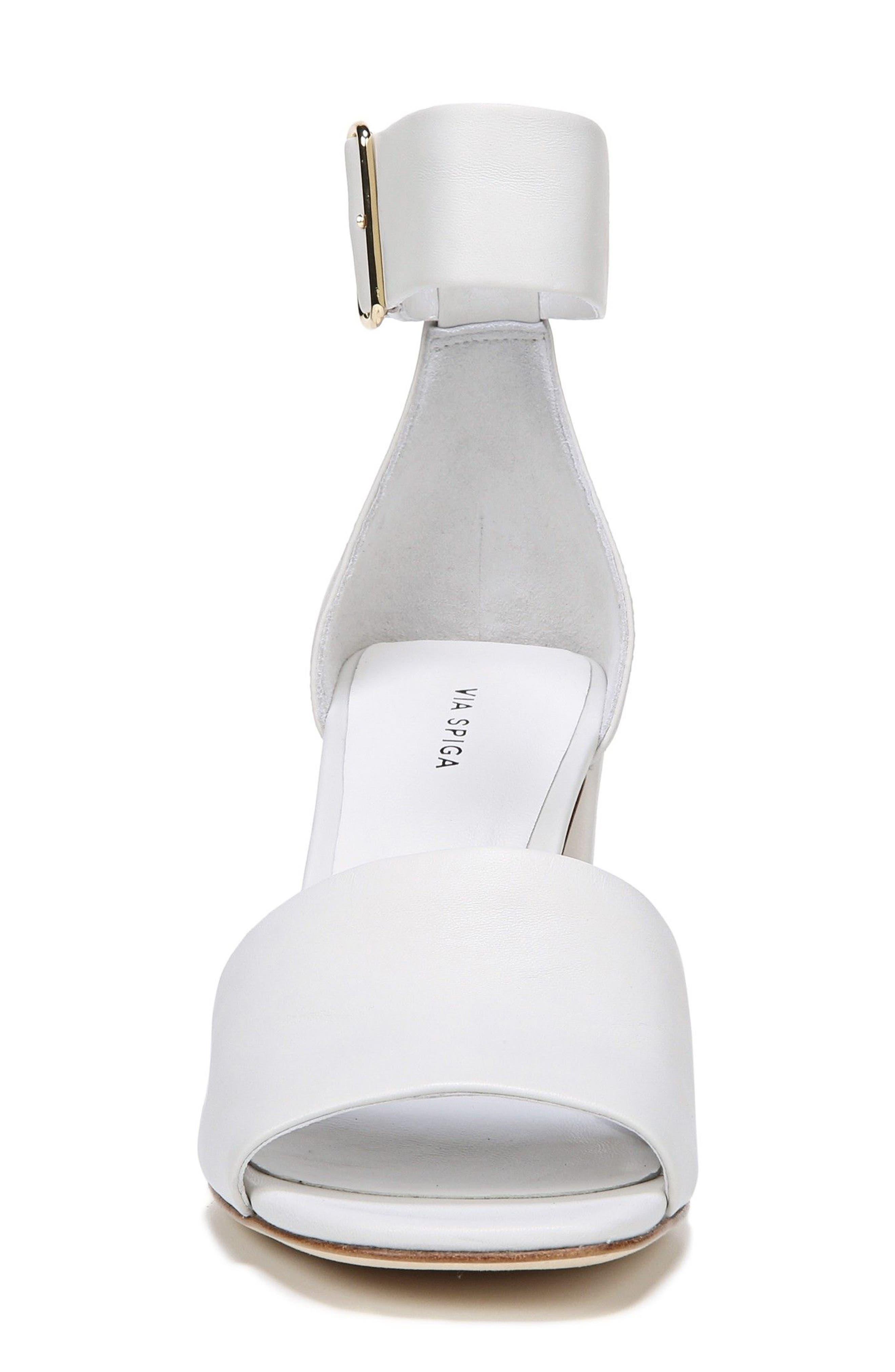 Evonne Ankle Strap Sandal,                             Alternate thumbnail 4, color,                             Porcelain Leather