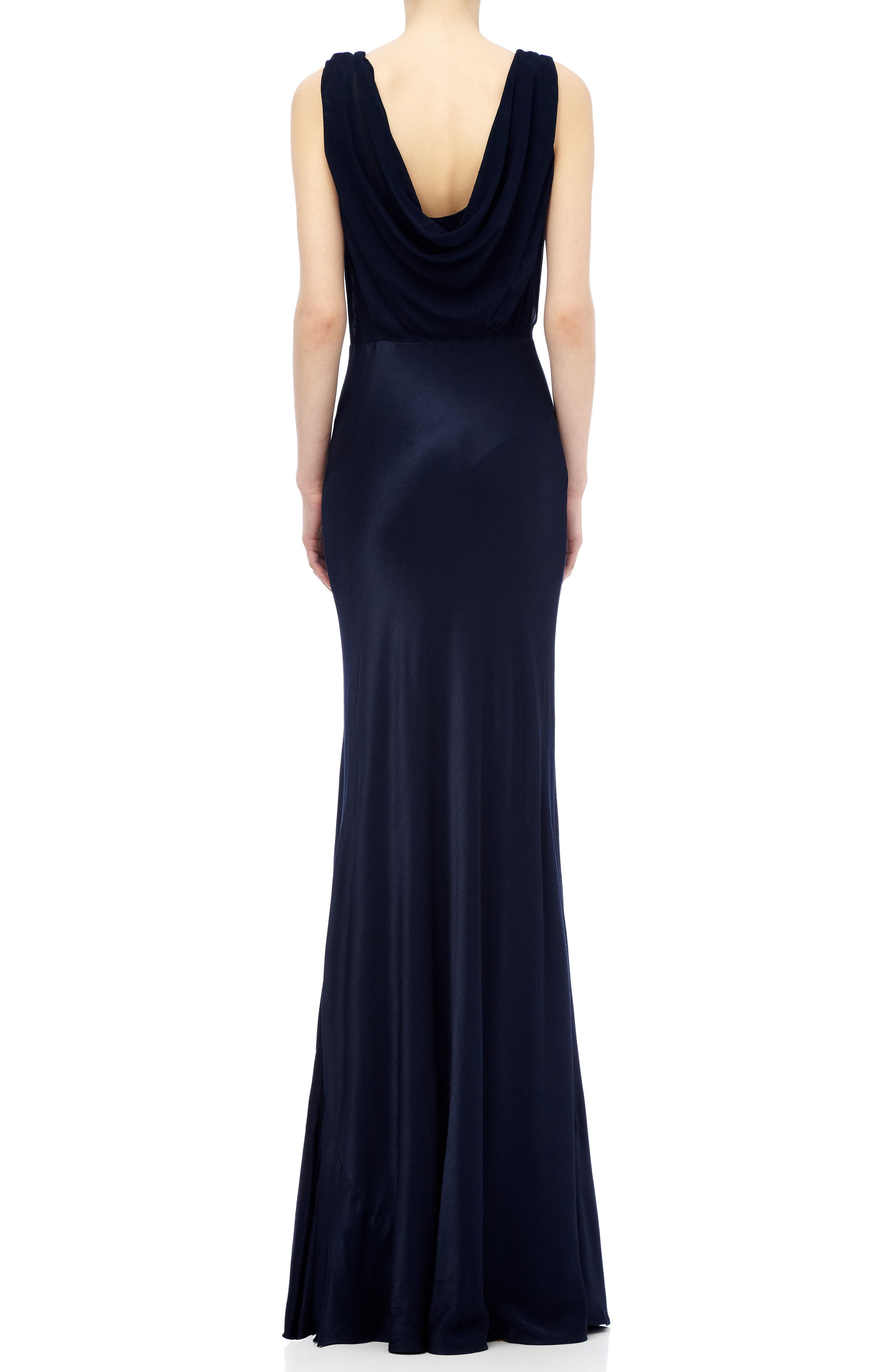 Claudia Cowl Back Gown,                             Alternate thumbnail 2, color,                             Navy