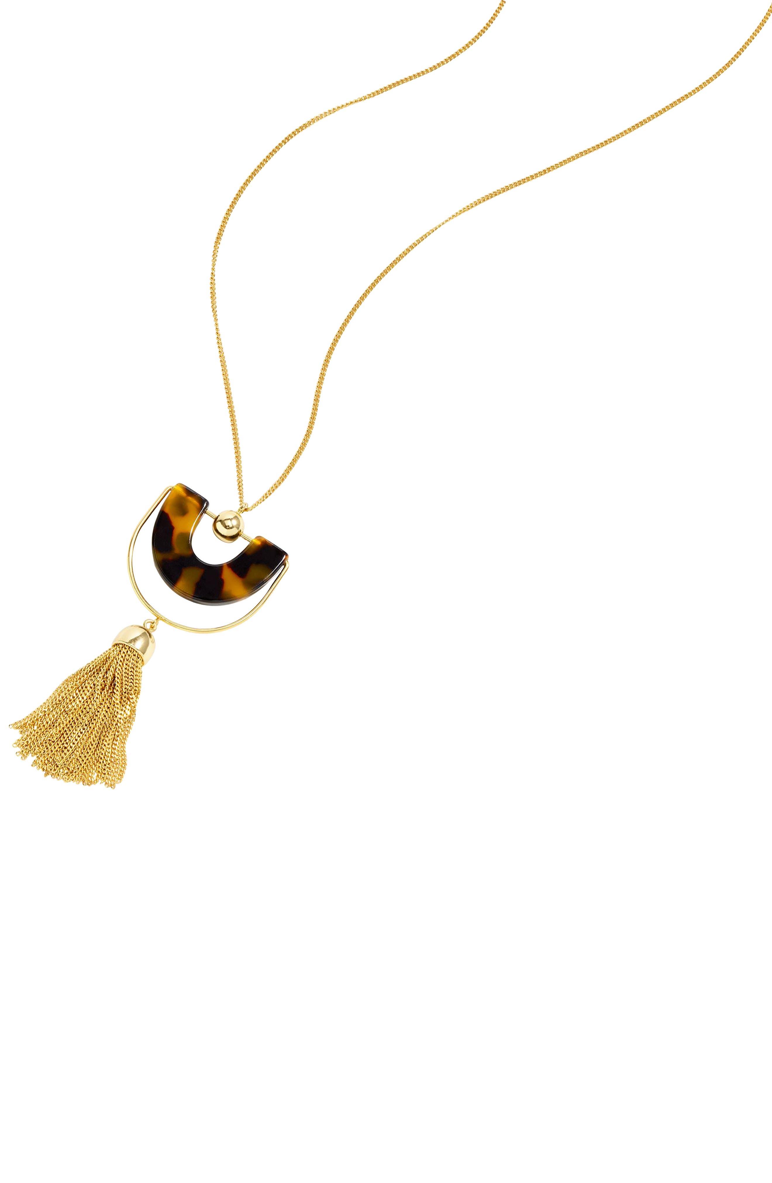 J.Crew Bead & Tassel Pendant Necklace