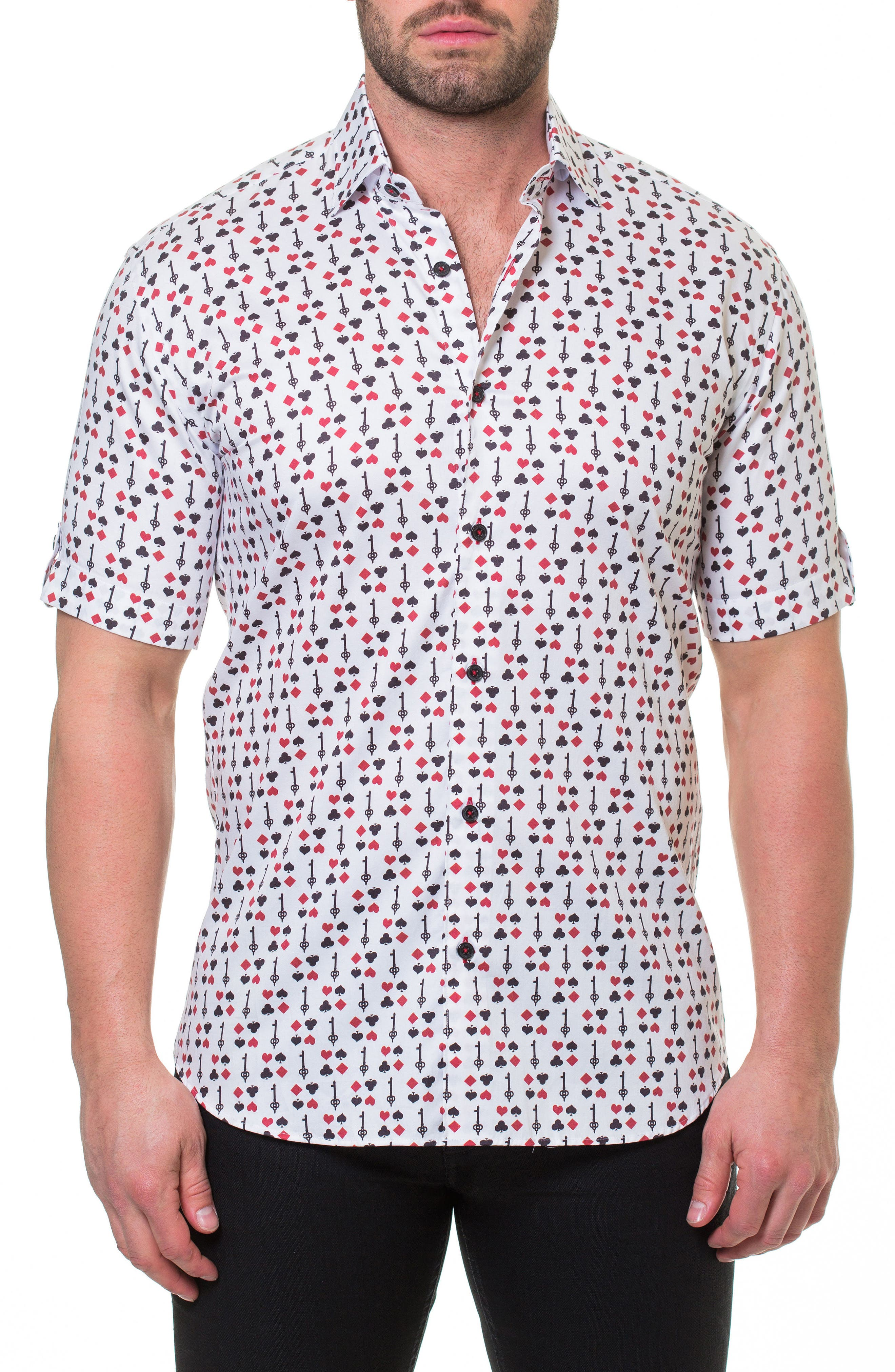 Fresh BlackJack Slim Fit Sport Shirt,                         Main,                         color, White