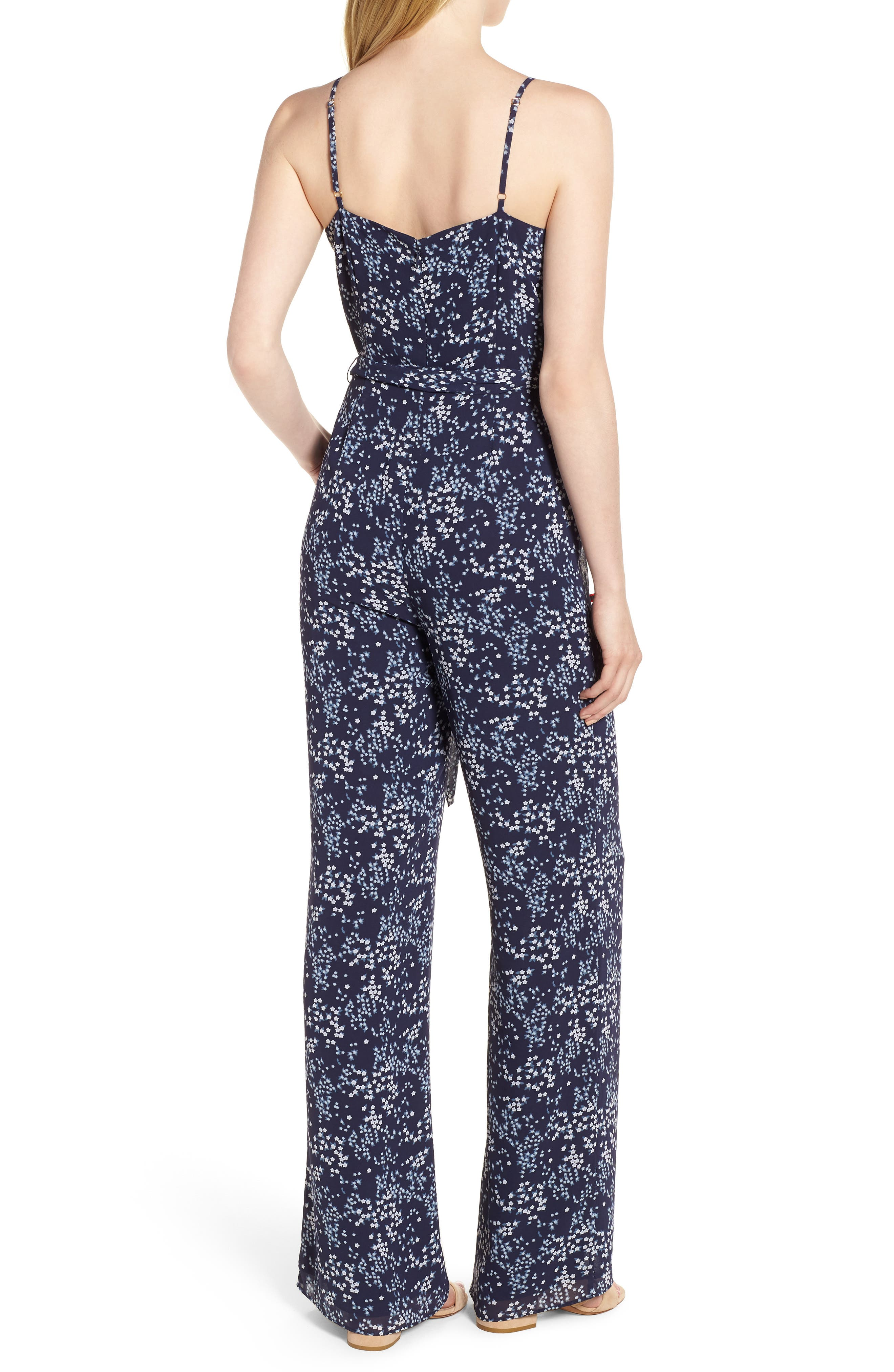 Scattered Blooms Jumpsuit,                             Alternate thumbnail 2, color,                             True Navy/ Light Chambray