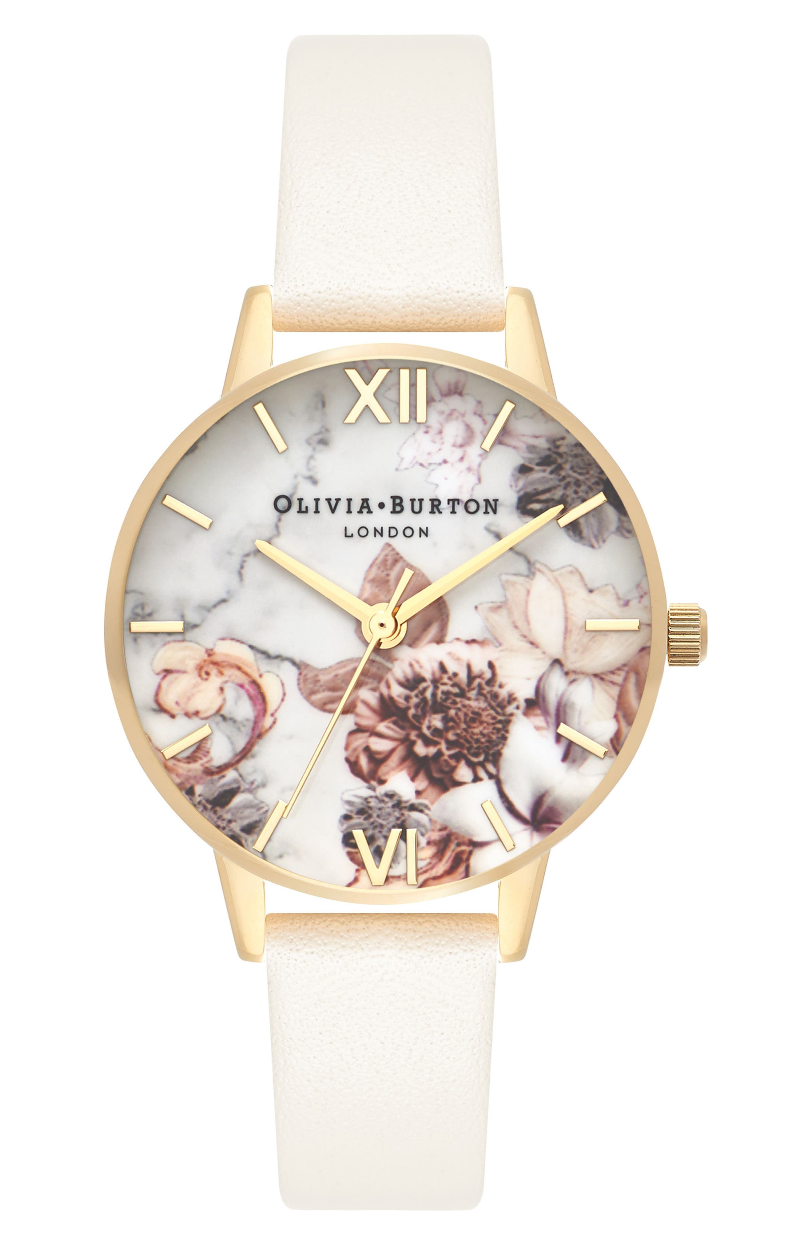 Marble Floral Leather Strap Watch, 30mm,                             Main thumbnail 1, color,                             Nude/ White Floral/ Gold