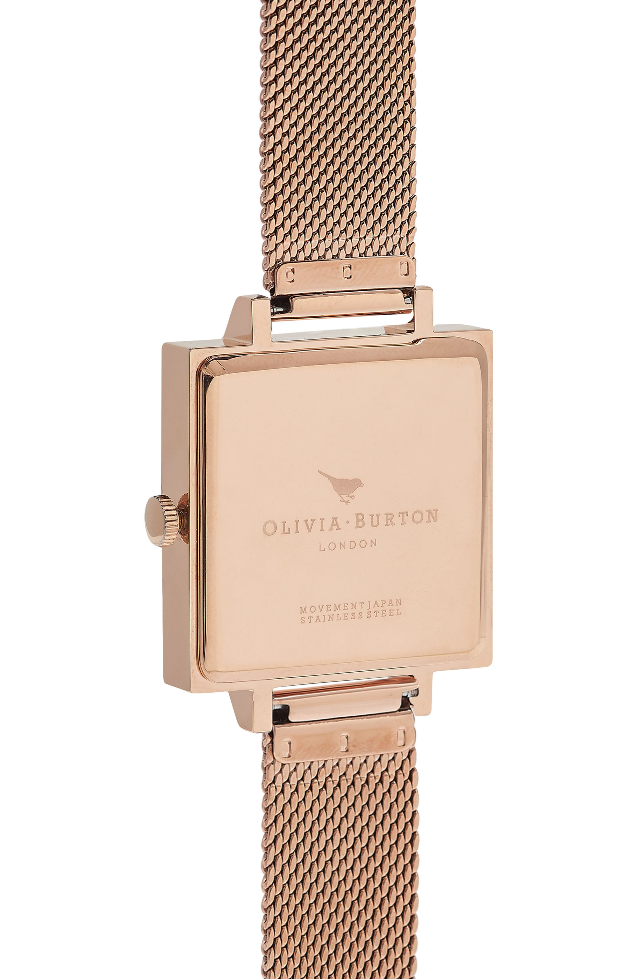 Vintage Bow Square Mesh Strap Watch, 23mm,                             Alternate thumbnail 2, color,                             Rose Gold/ Bow/ Rose Gold