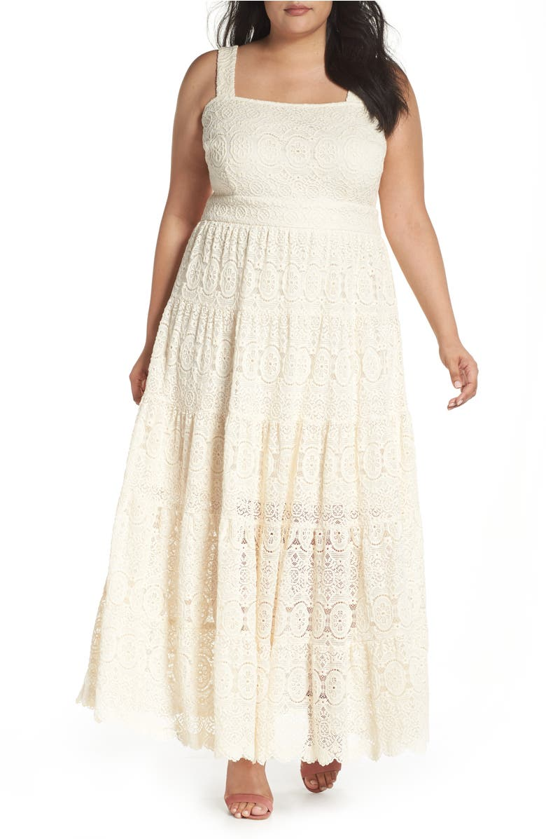 Tiered Lace Maxi Dress Ivory
