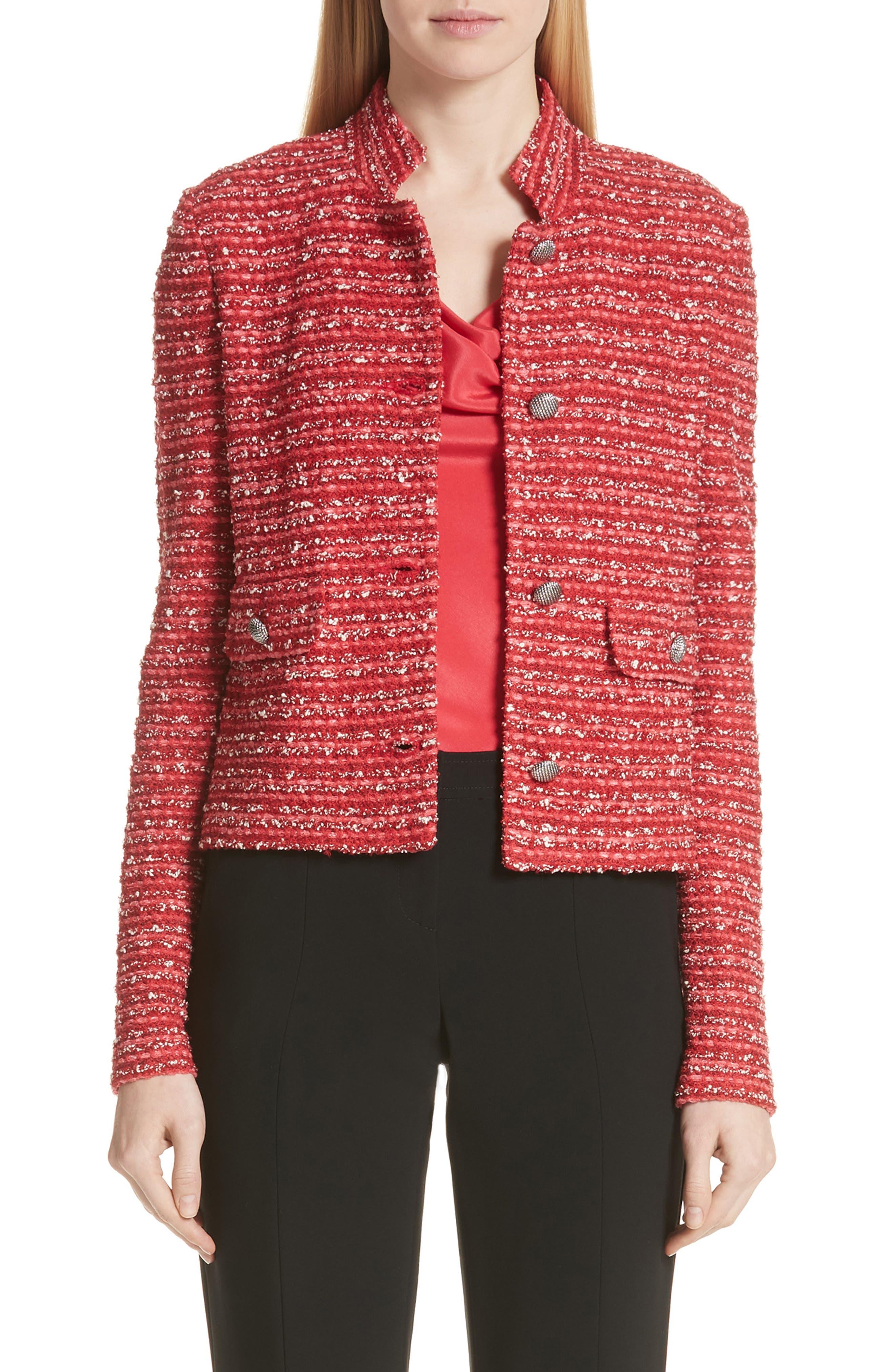 ST. JOHN Inlay Boucle Stripe Tweed Jacket in Lingonberry Multi
